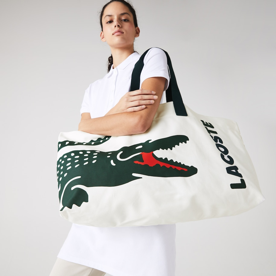 Grand tote bag en coton imprimé crocodile XXL