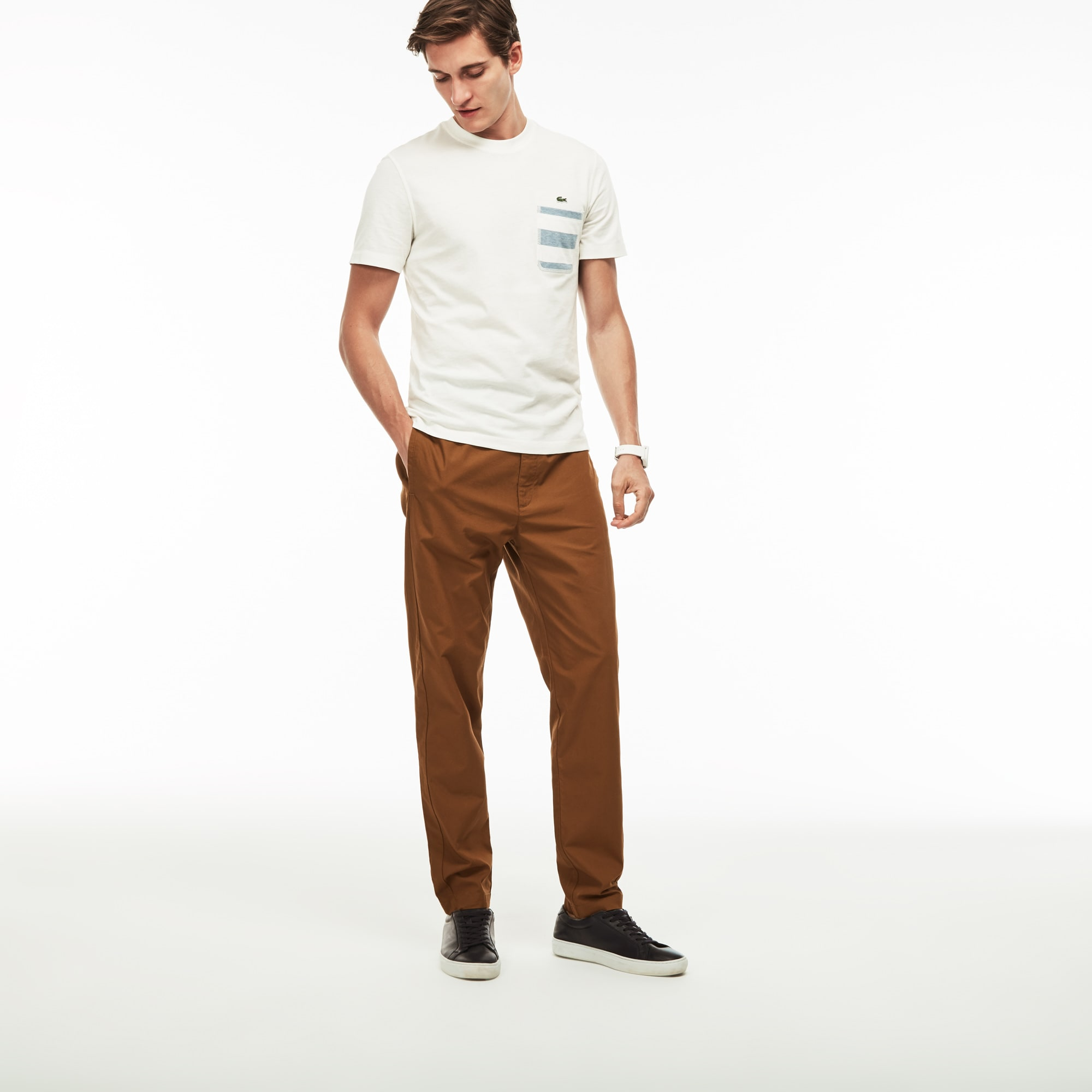 Pantalon en coton technique uni
