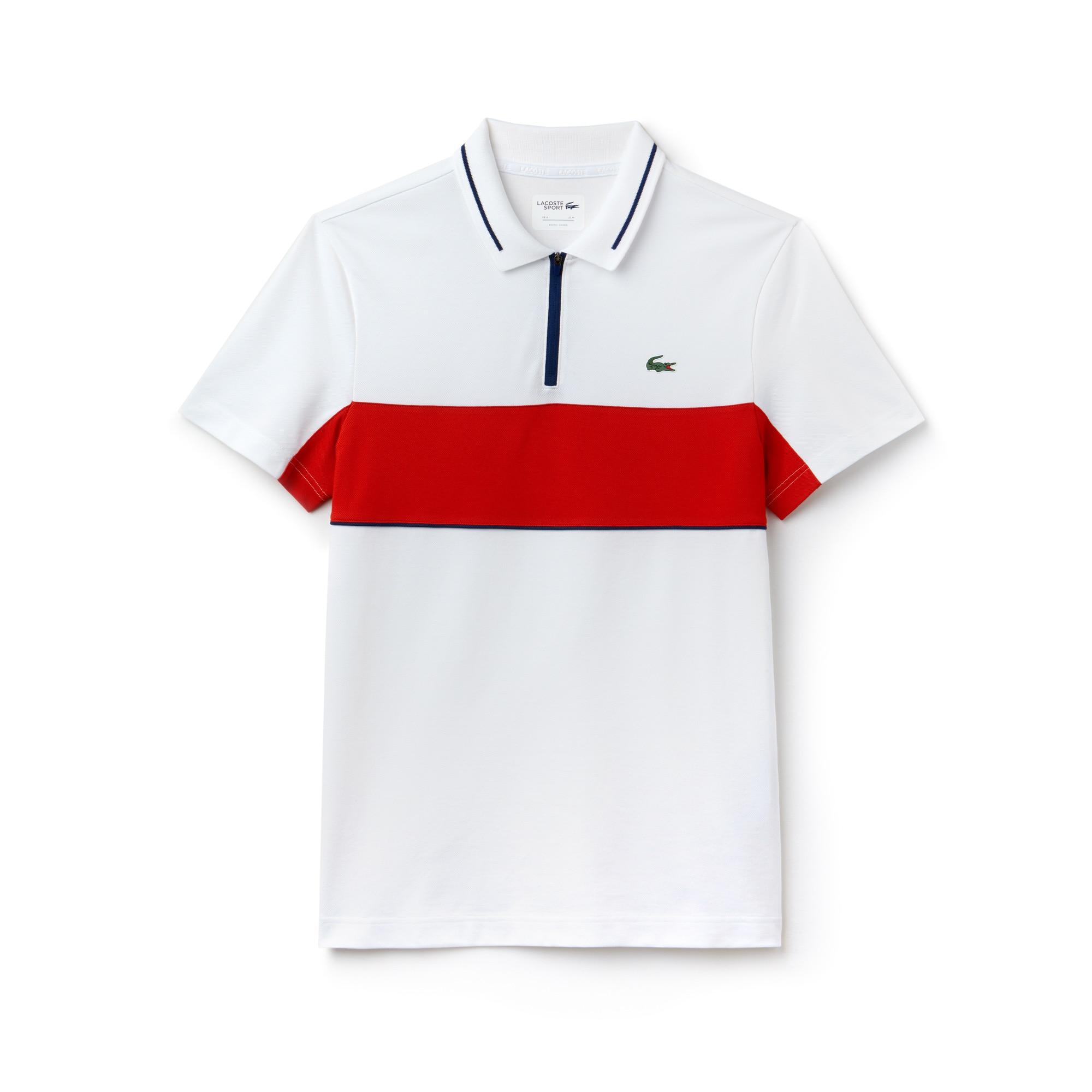 Polo Golf Lacoste SPORT en petit piqué technique à bandes contrastées