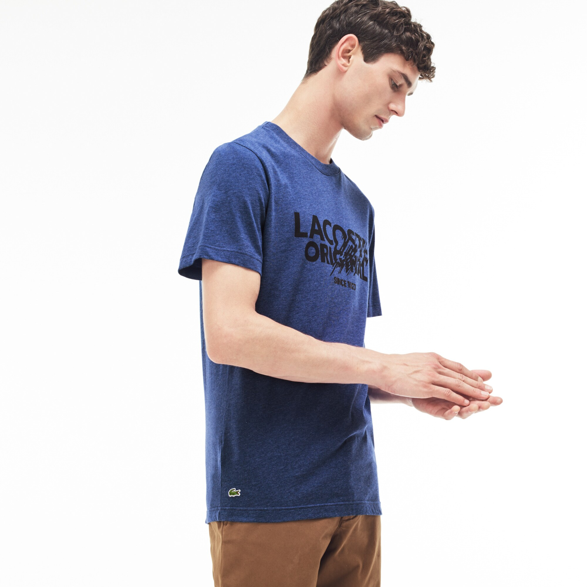 T-shirt col rond en jersey avec inscription Lacoste Original