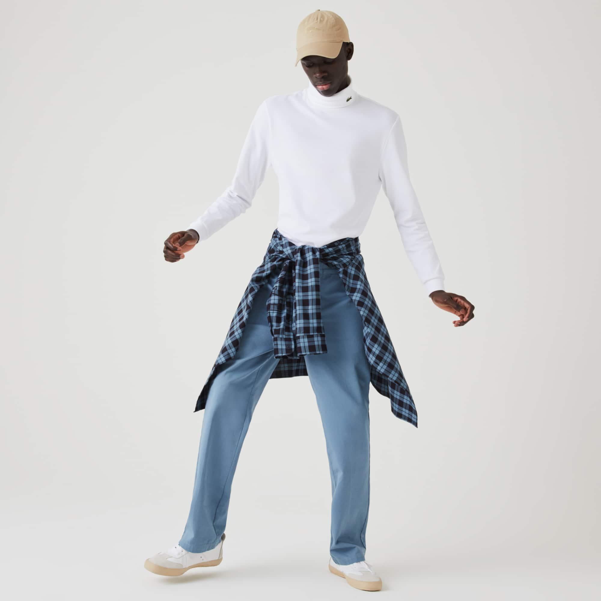 Lacoste T-shirt col roulé à manches longues en piqué de coton biologique stretch Taille 7 - XXL Blan