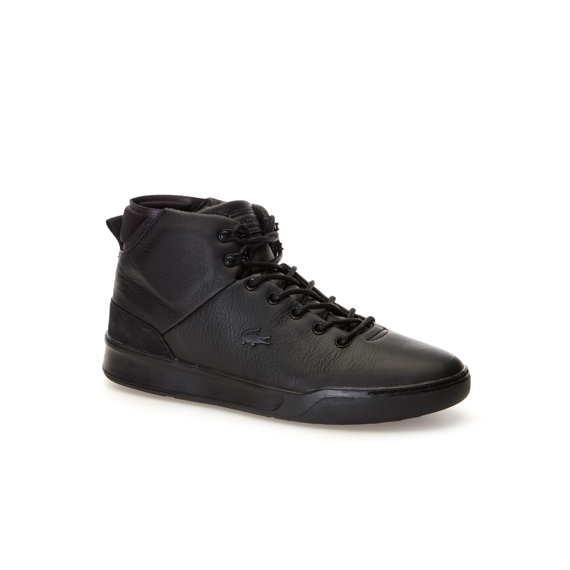 Sneakers Explorateur Classic homme à tige montante en cuir noir froissé