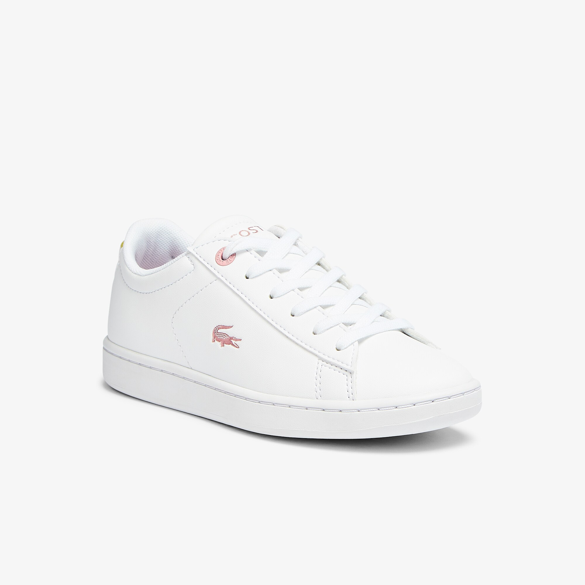 Lacoste Sneakers Carnaby Evo enfant avec détails métallisés Taille 33 Blanc/rose