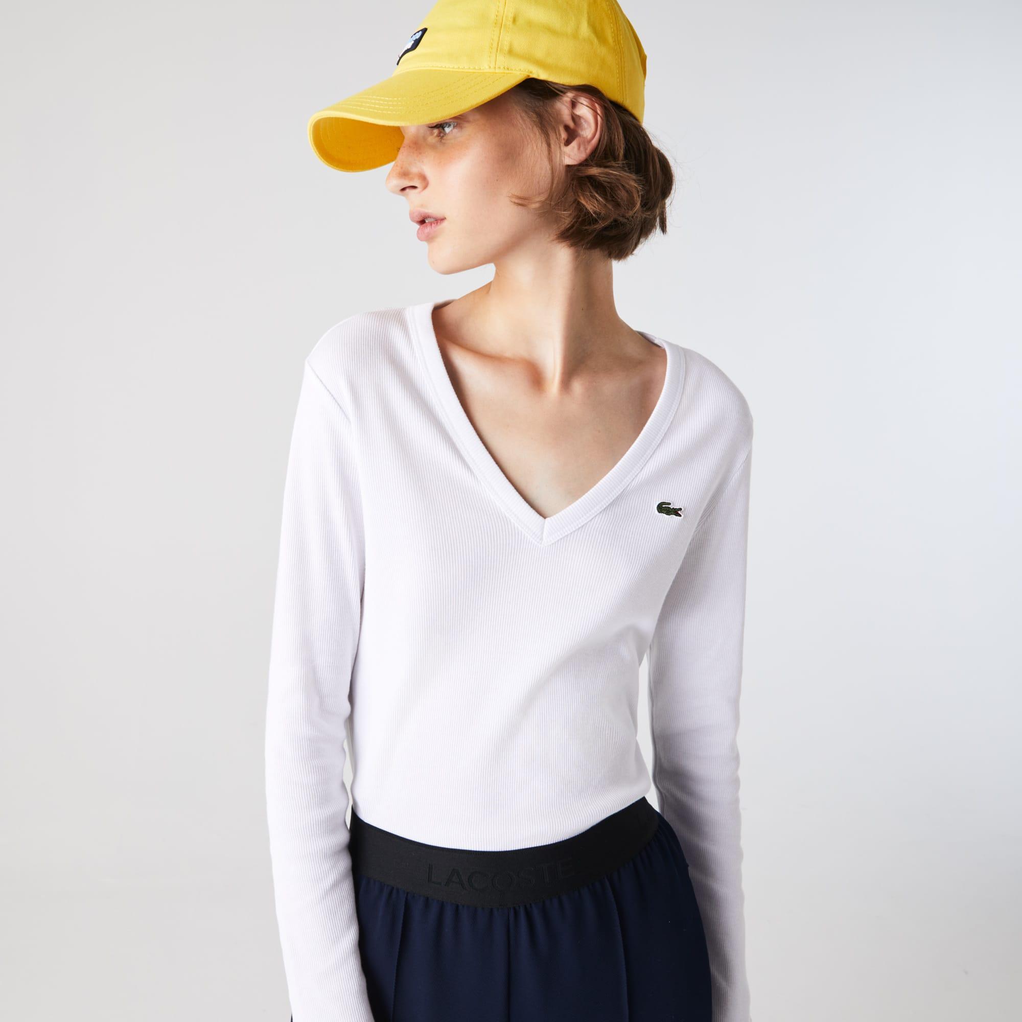 Lacoste T-shirt à col V et manches longues en coton côtelé Taille 36 Blanc