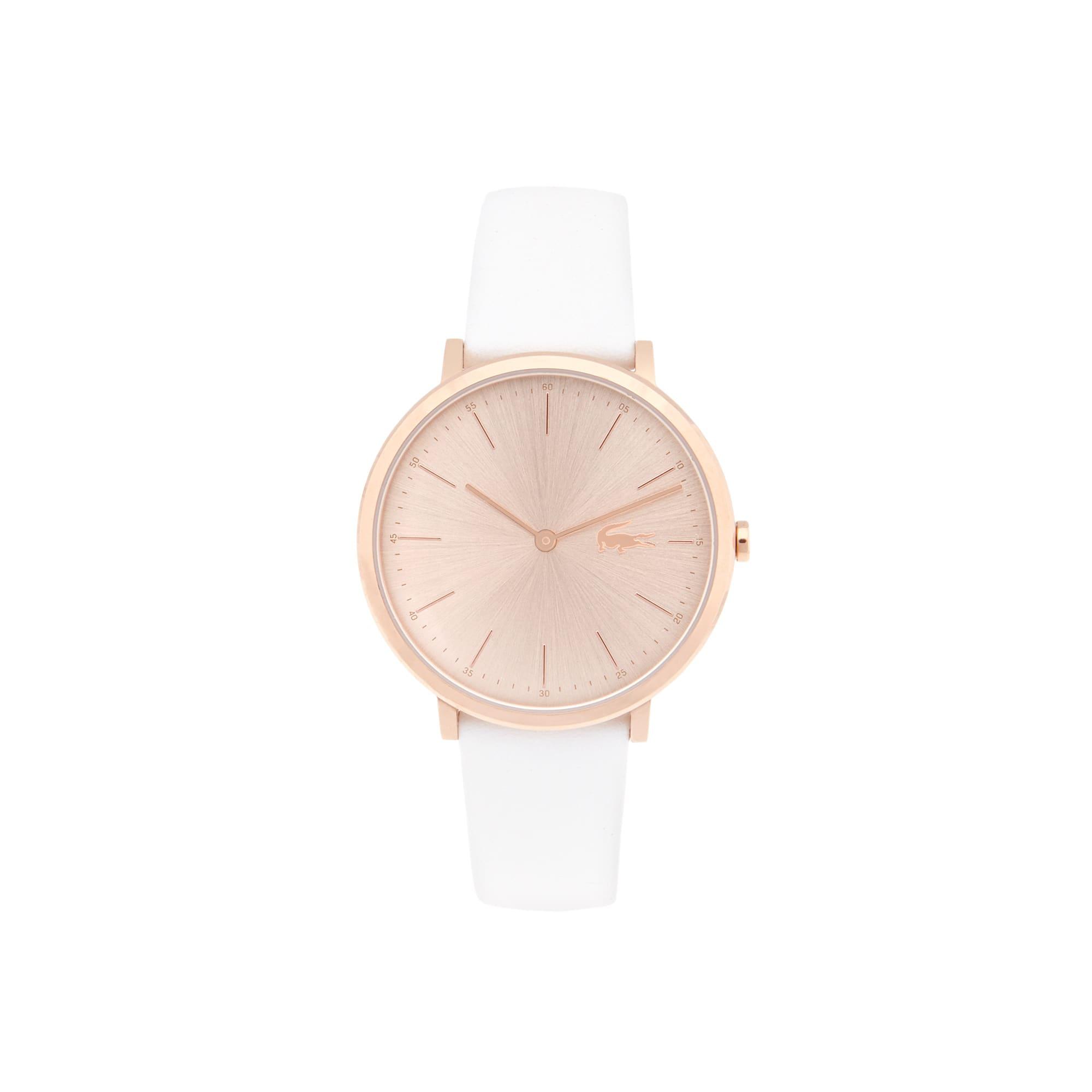 Montre Moon Femme doré rose extra-plate - bracelet blanc