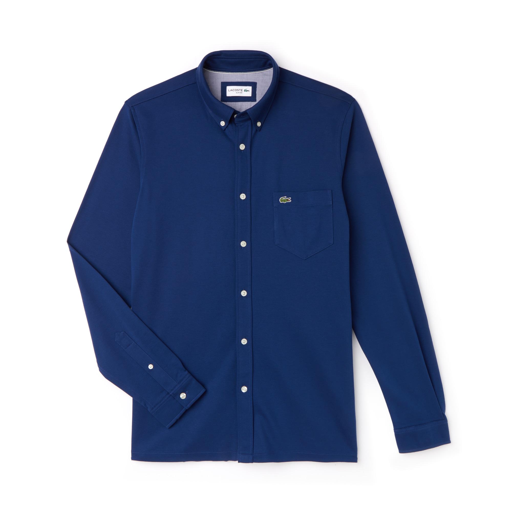 Slim Jersey Uni En Lacoste Chemise Coton Fit De f6dwnqx