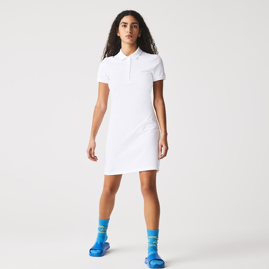 Robe polo en piqué de coton stretch