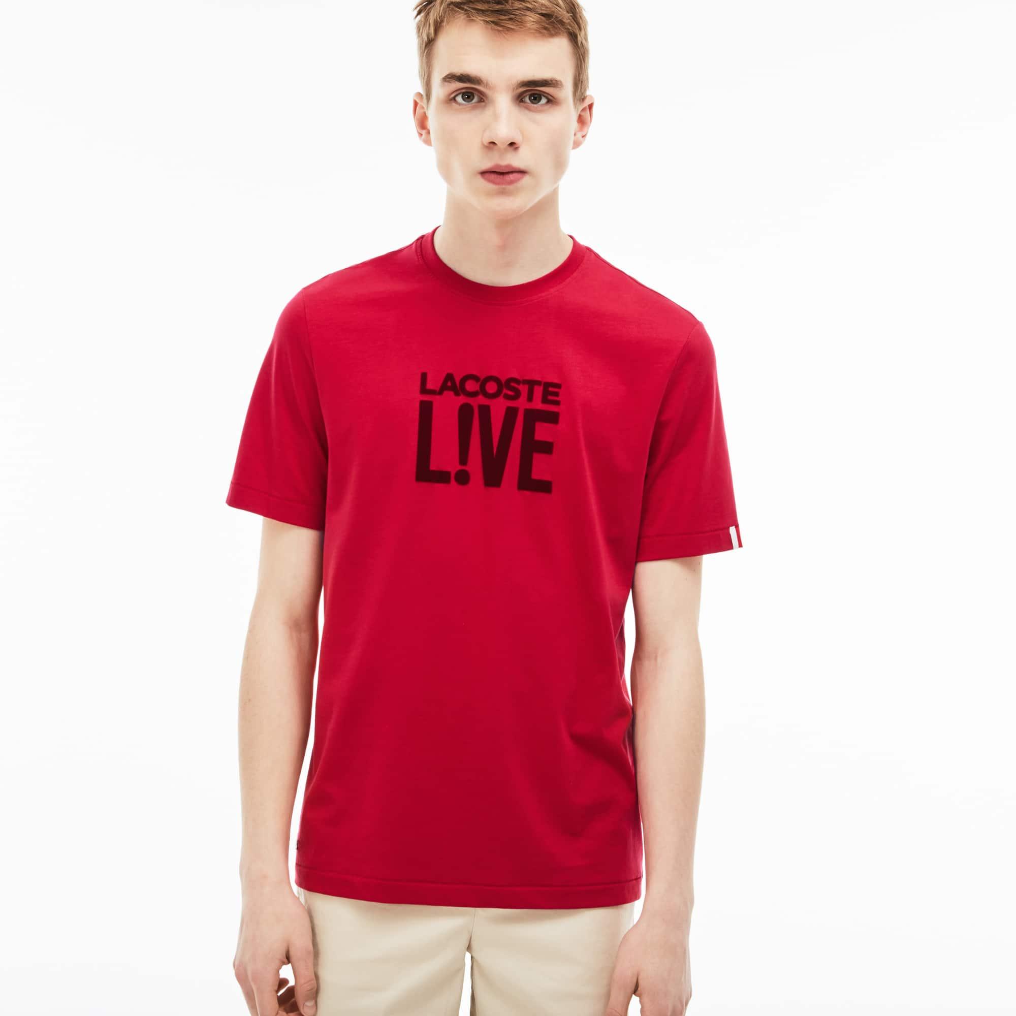 T-shirt col rond Lacoste LIVE en jersey avec logo en velours