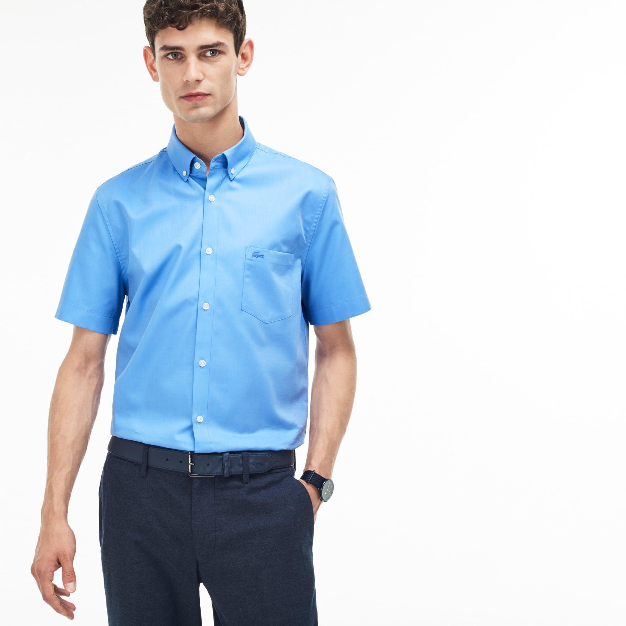 Chemise regular fit à manches courtes en mini piqué uni