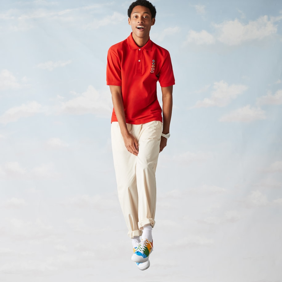 Polo Lacoste x Polaroid classic fit avec crocodiles colorés