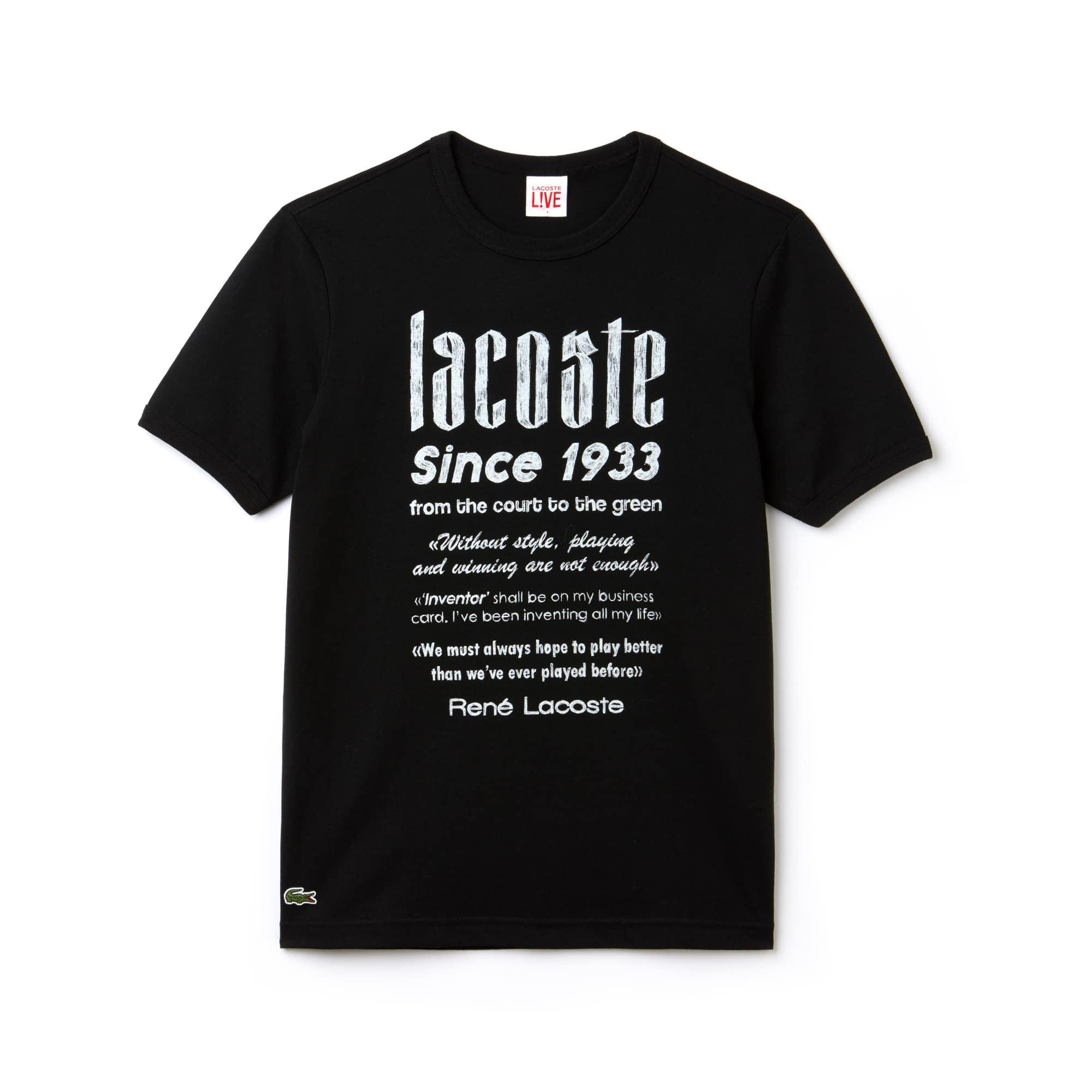 T-shirt col rond Lacoste LIVE en jersey de coton avec marquage typo