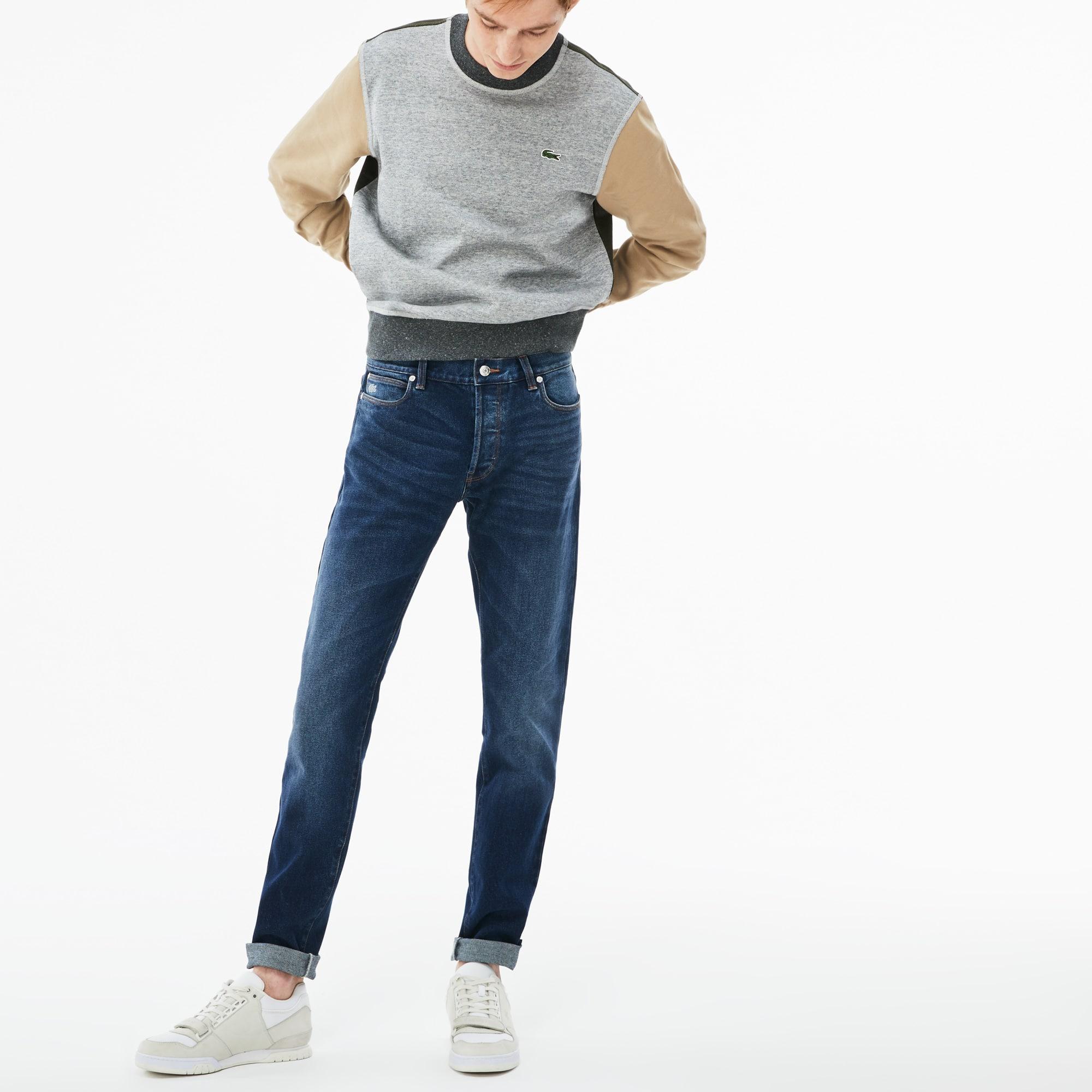 Jean 5 poches Lacoste LIVE en coton stretch avec revers