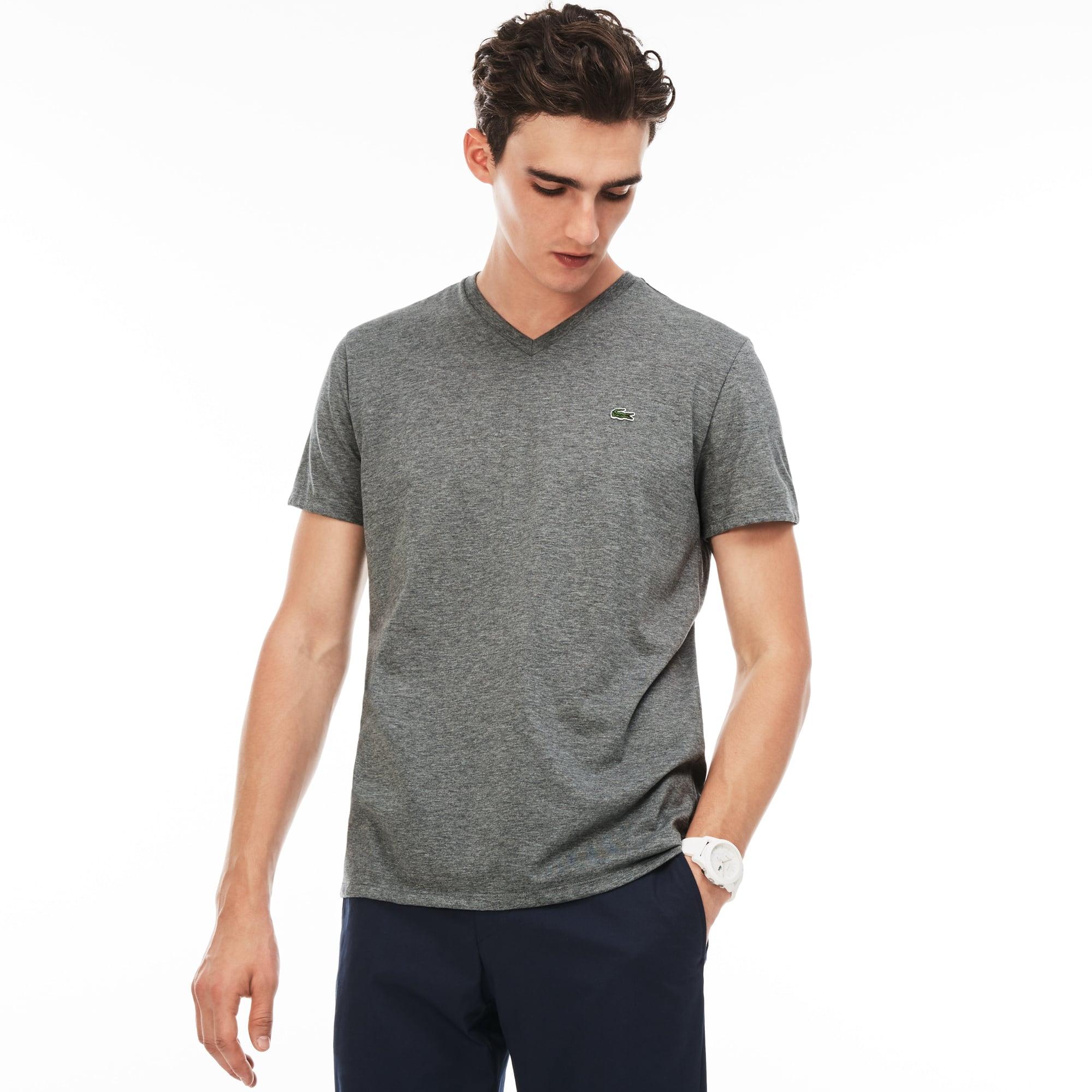 T-shirt col V en jersey de coton pima uni