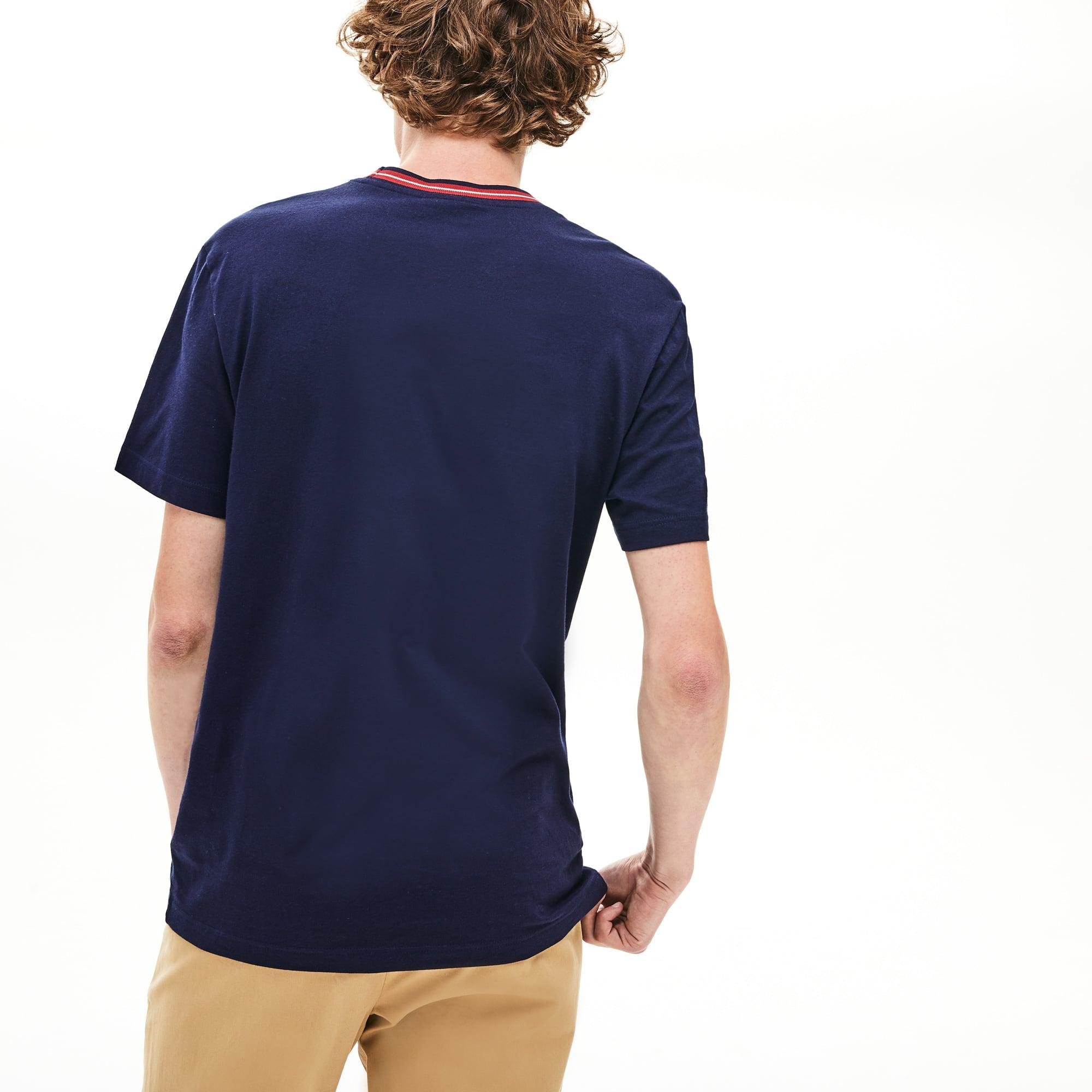 e5be8b757 T-shirt col rond en coton uni avec rayure contrastée sur le col