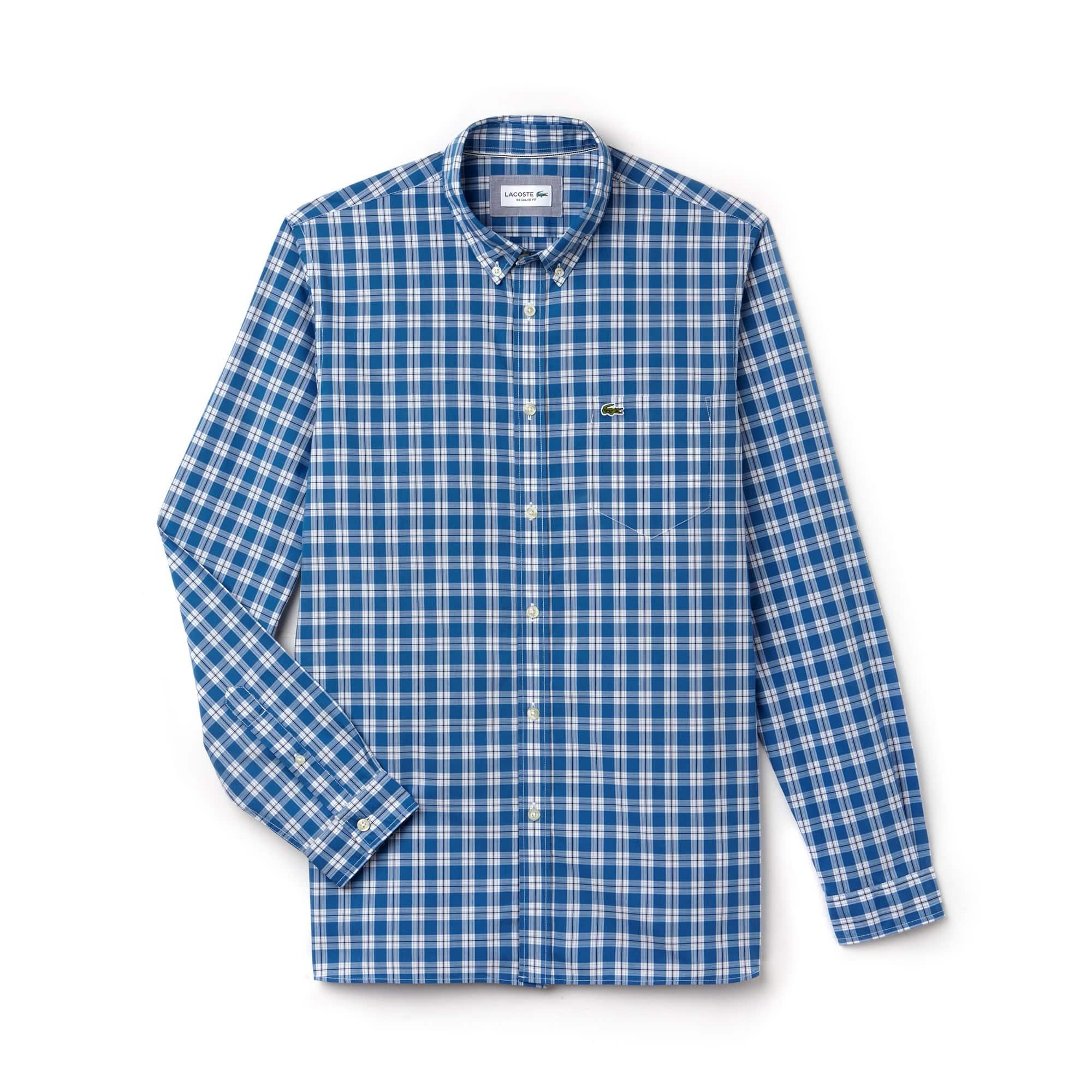 Chemise regular fit à manches longues en popeline à mini carreaux