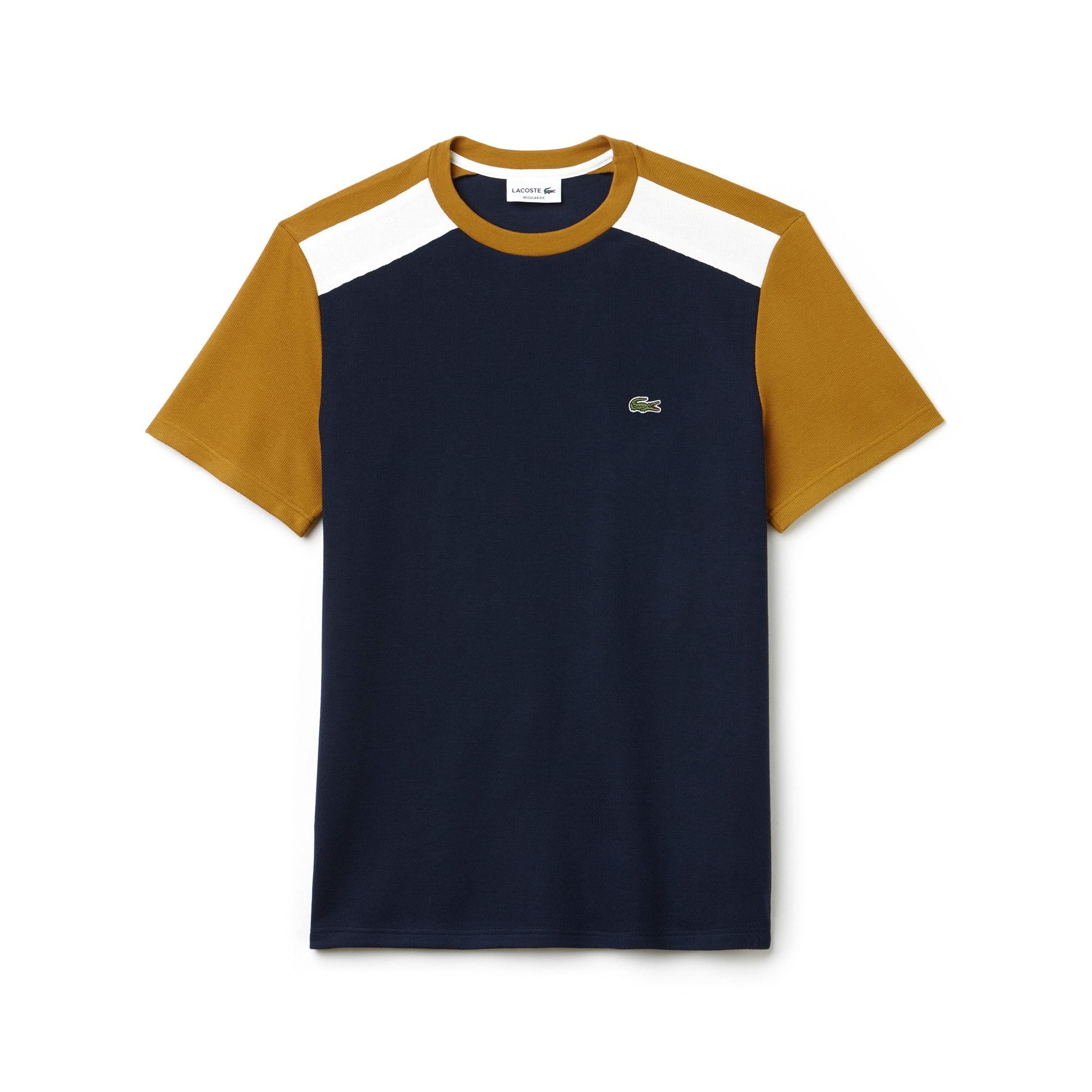 T-shirt col rond en jersey et piqué color block