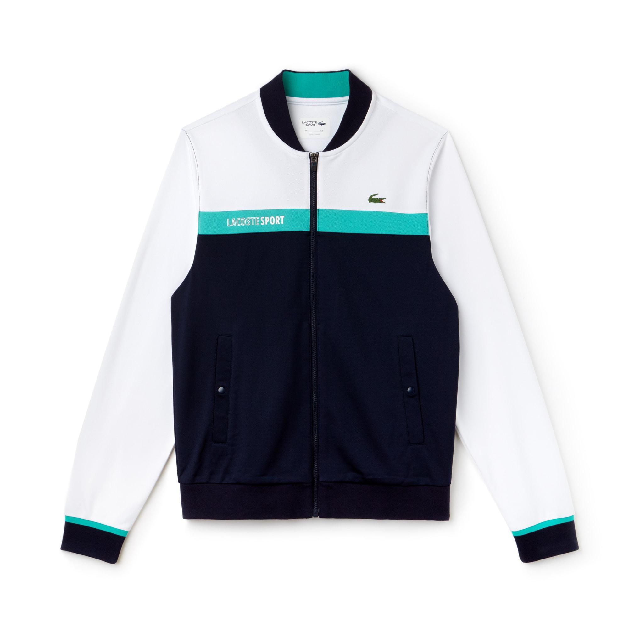 Sweatshirt zippé Tennis Lacoste SPORT en piqué technique color block