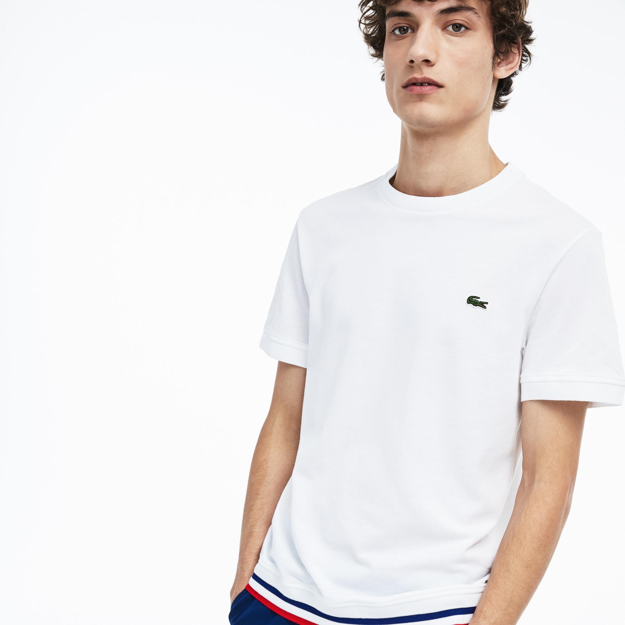 87b3afc9c27 T-shirt col rond Made in France en petit piqué à rayures tricolores