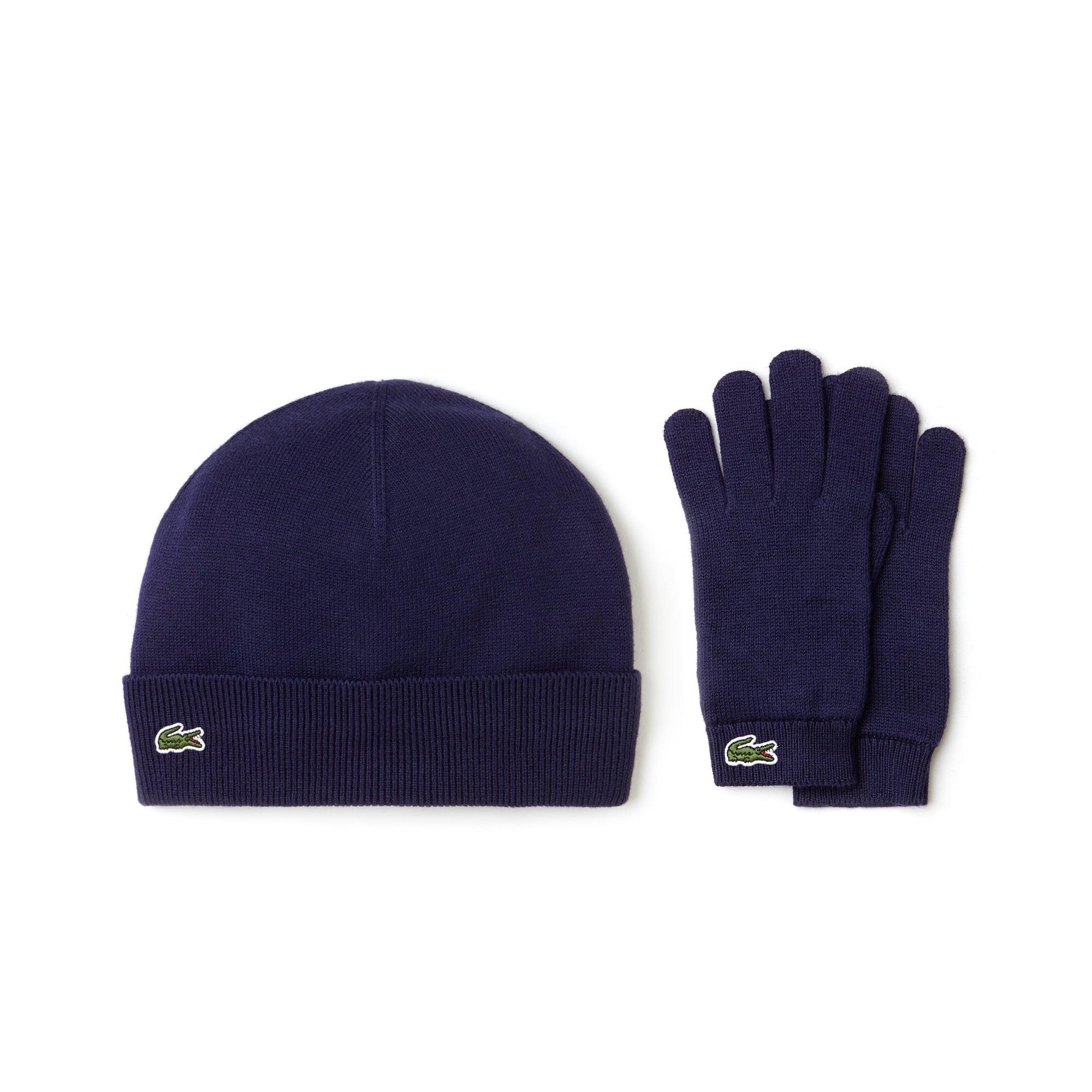 Bonnet et gants Garçon en jersey de coton et cachemire