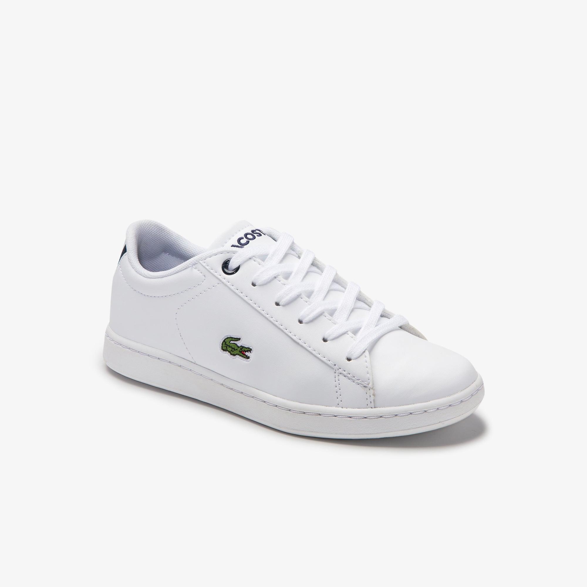 Lacoste Sneakers Carnaby Evo ton sur ton enfant en maille et synthétique Taille 34 Blanc/marine