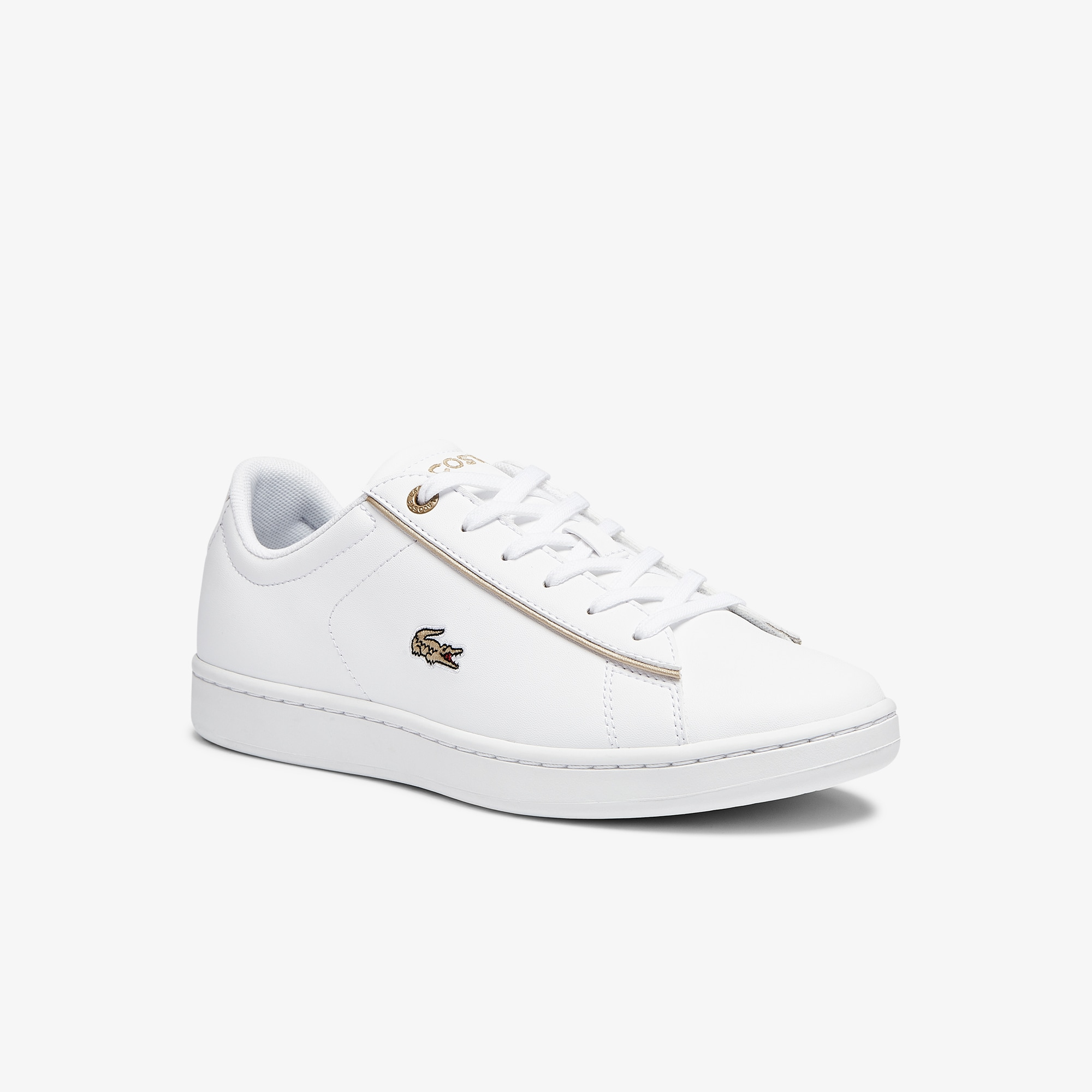 Lacoste Sneakers Carnaby Evo junior en synthétique Taille 34.5 Blanc/doré