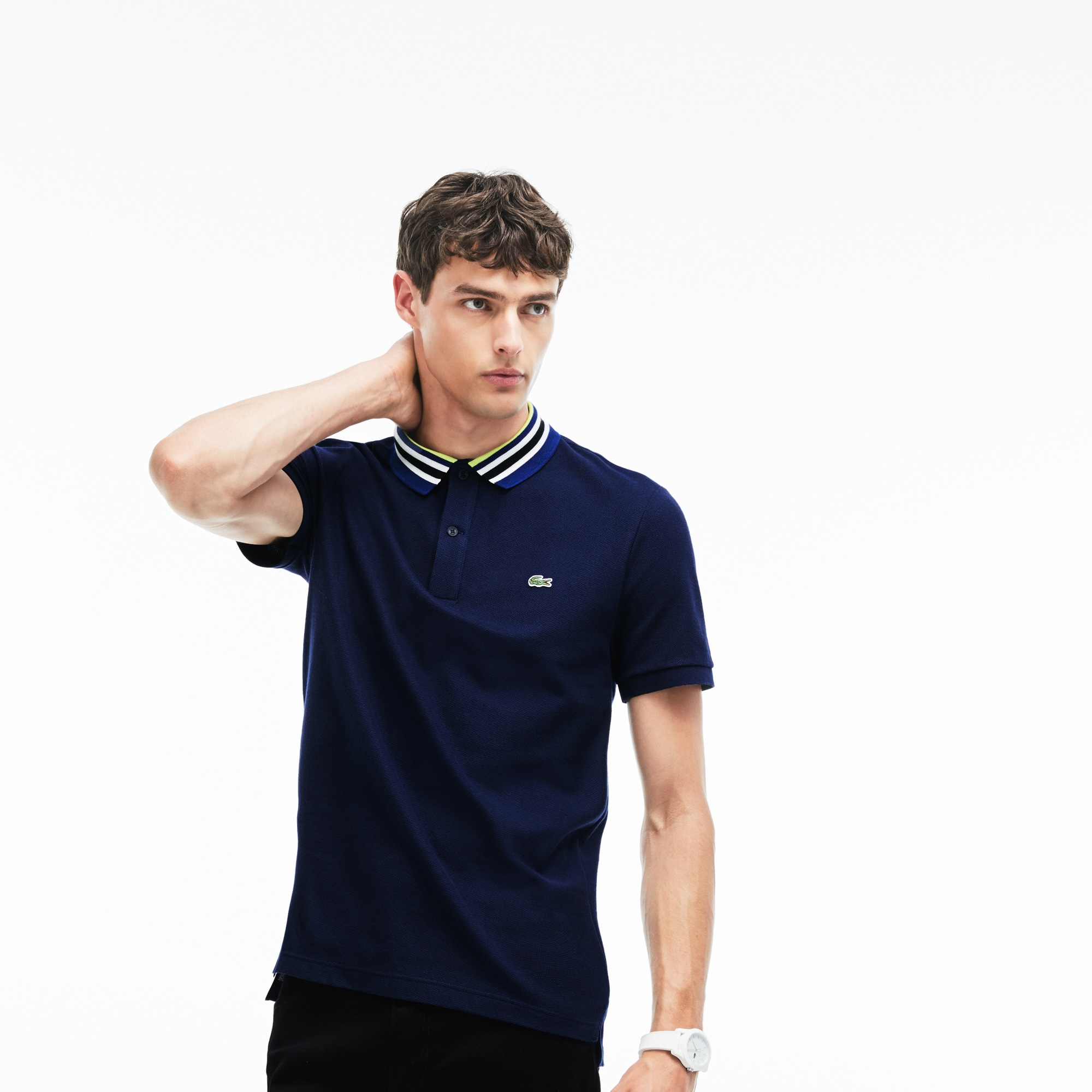 Polo slim fit Lacoste en piqué de coton avec piping au col