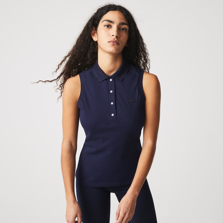 Polo Lacoste slim fit sans manches en piqué de coton stretch