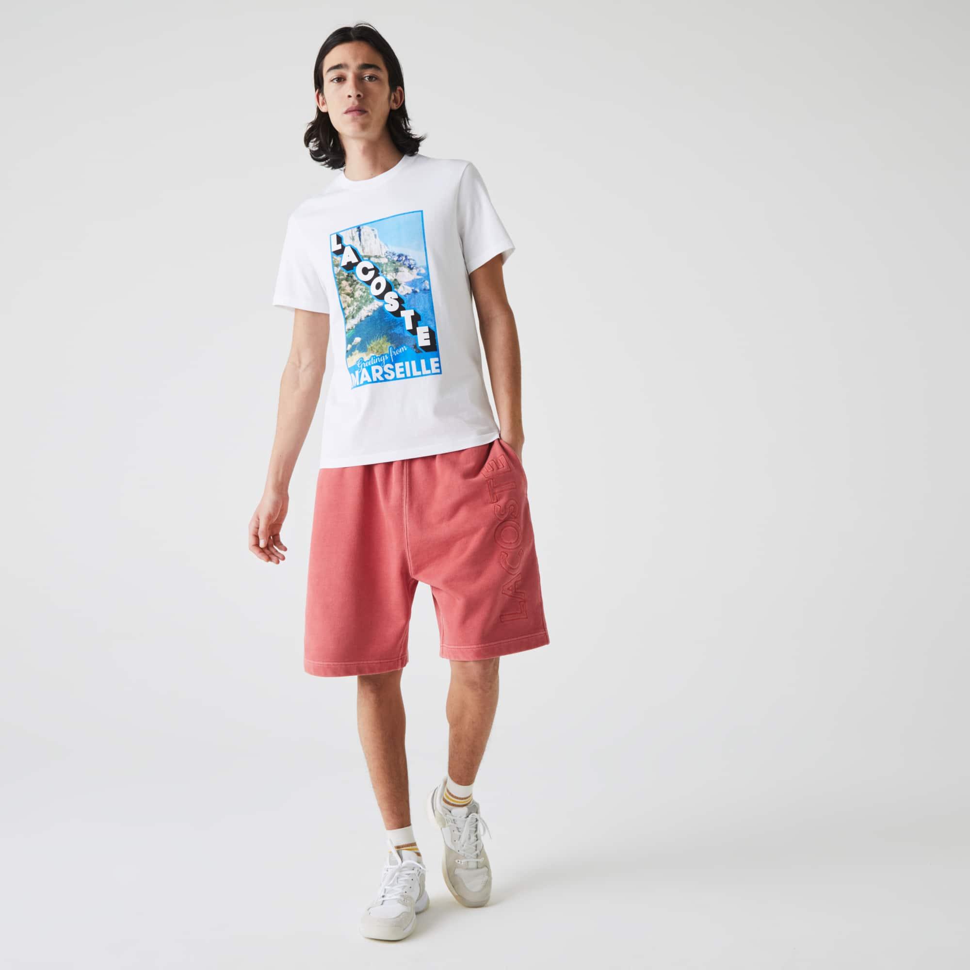 Lacoste T-shirt à col rond en coton imprimé paysage Taille 7 - XXL Blanc / Bleu