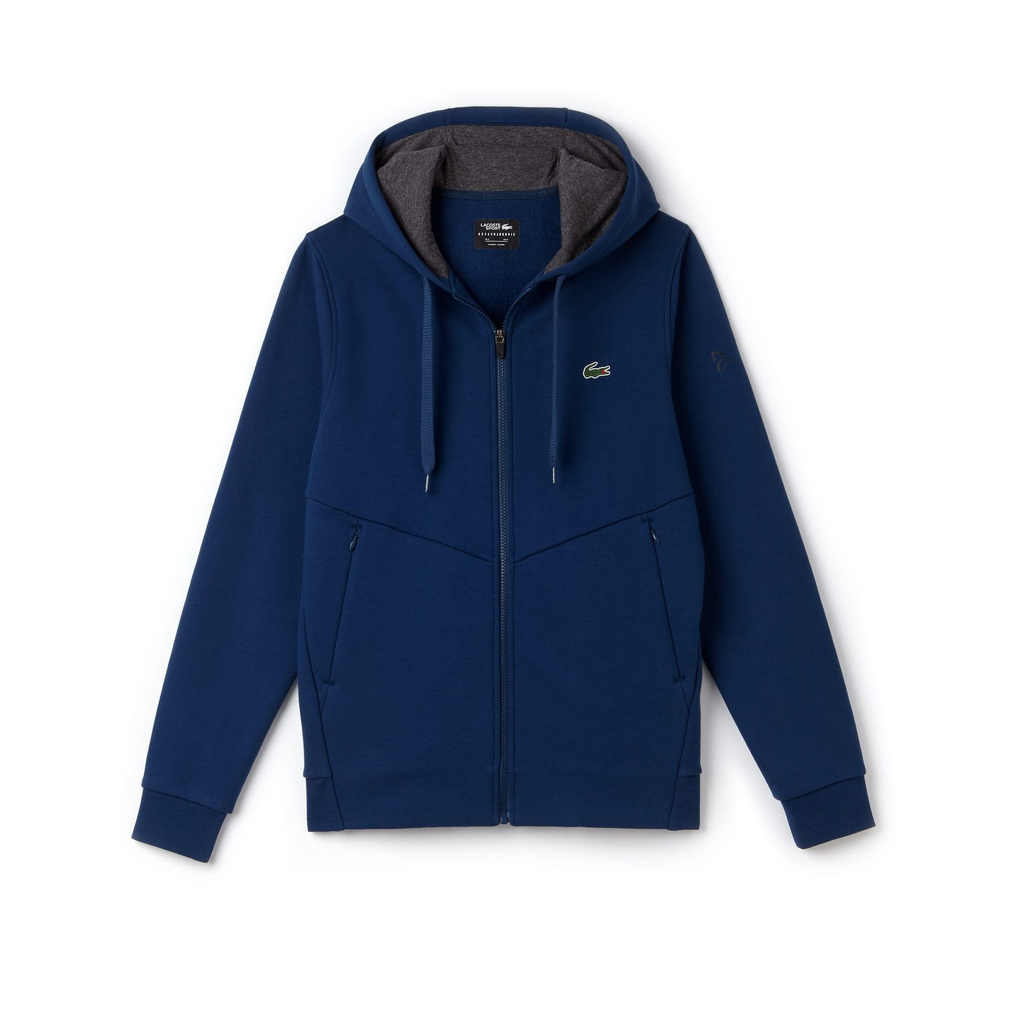Sweatshirt zippé à capuche Lacoste SPORT Collection Novak Djokovic - Off Court en molleton technique uni