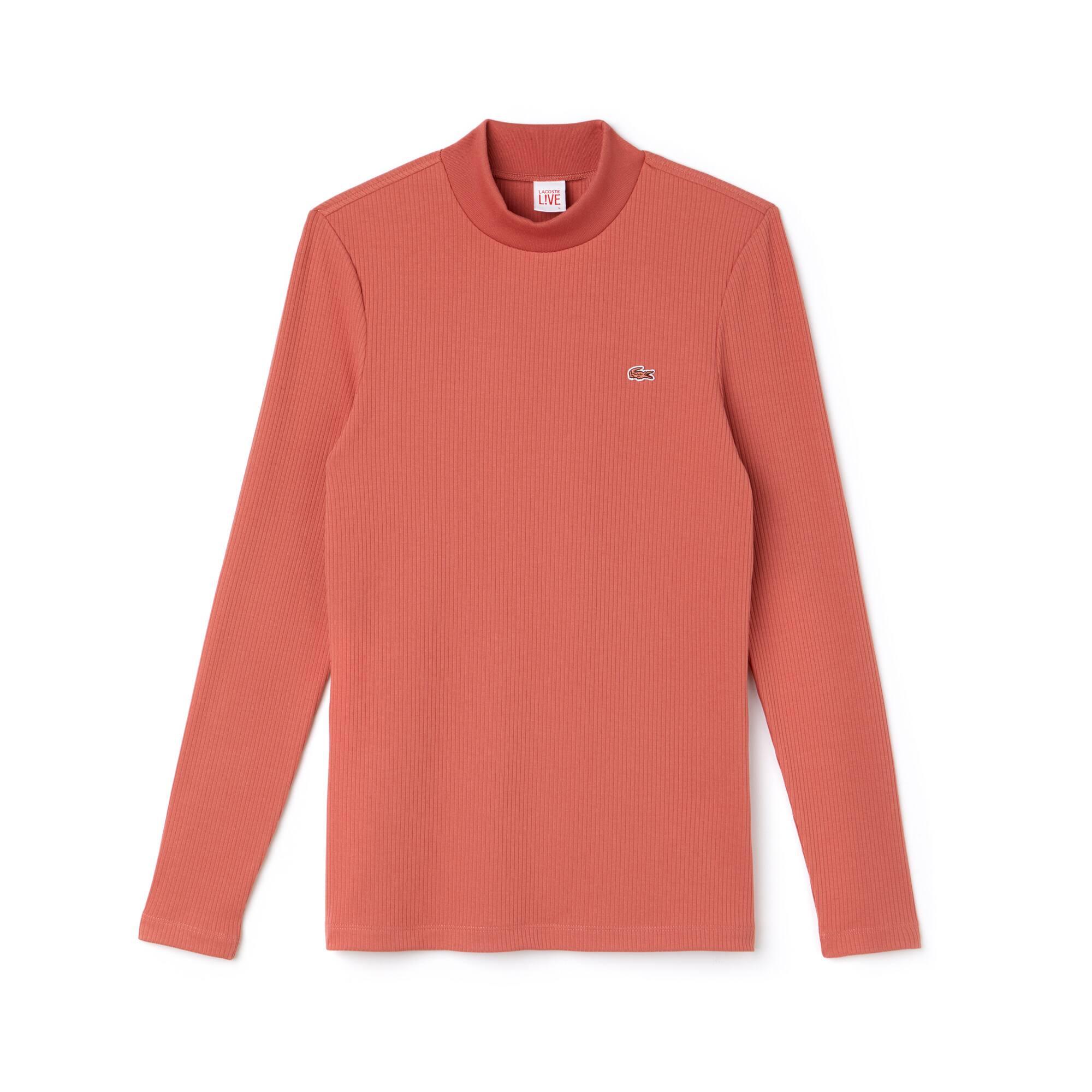 T-shirt col montant à manches longues Lacoste LIVE en coton côtelé