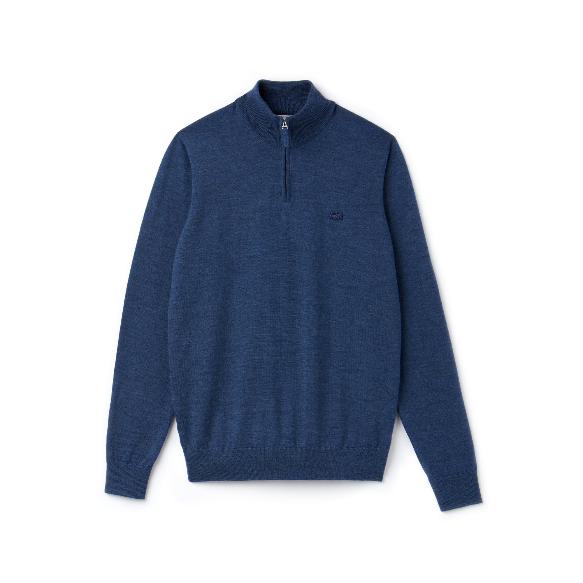 f5775d6c1e Pull col montant zippé en jersey de laine uni | LACOSTE