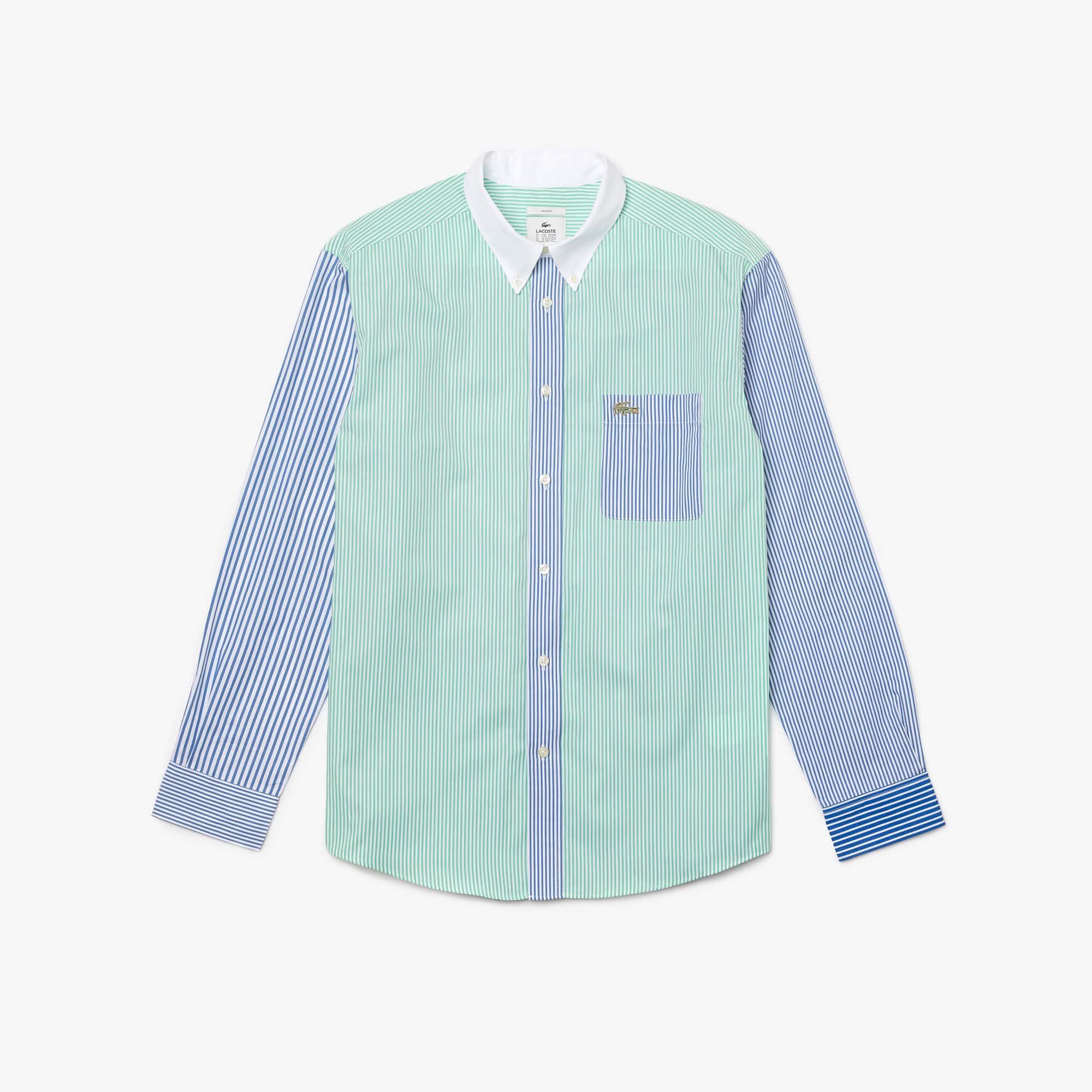 Chemise relax fit Lacoste LIVE unisexe en coton rayé Taille 3 - S Bleu / Vert / Blanc