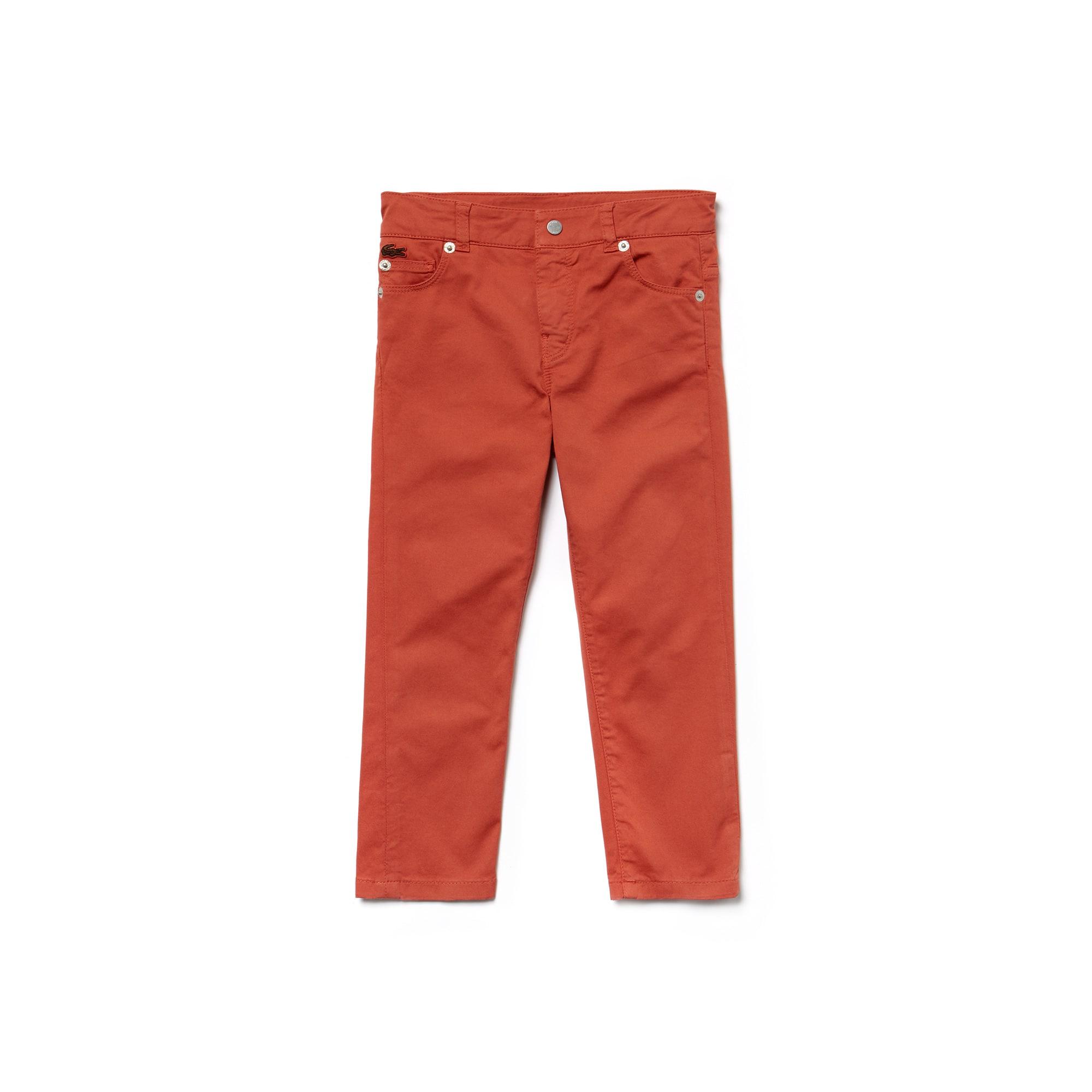 Pantalon Garçon 5 poches en gabardine stretch unie