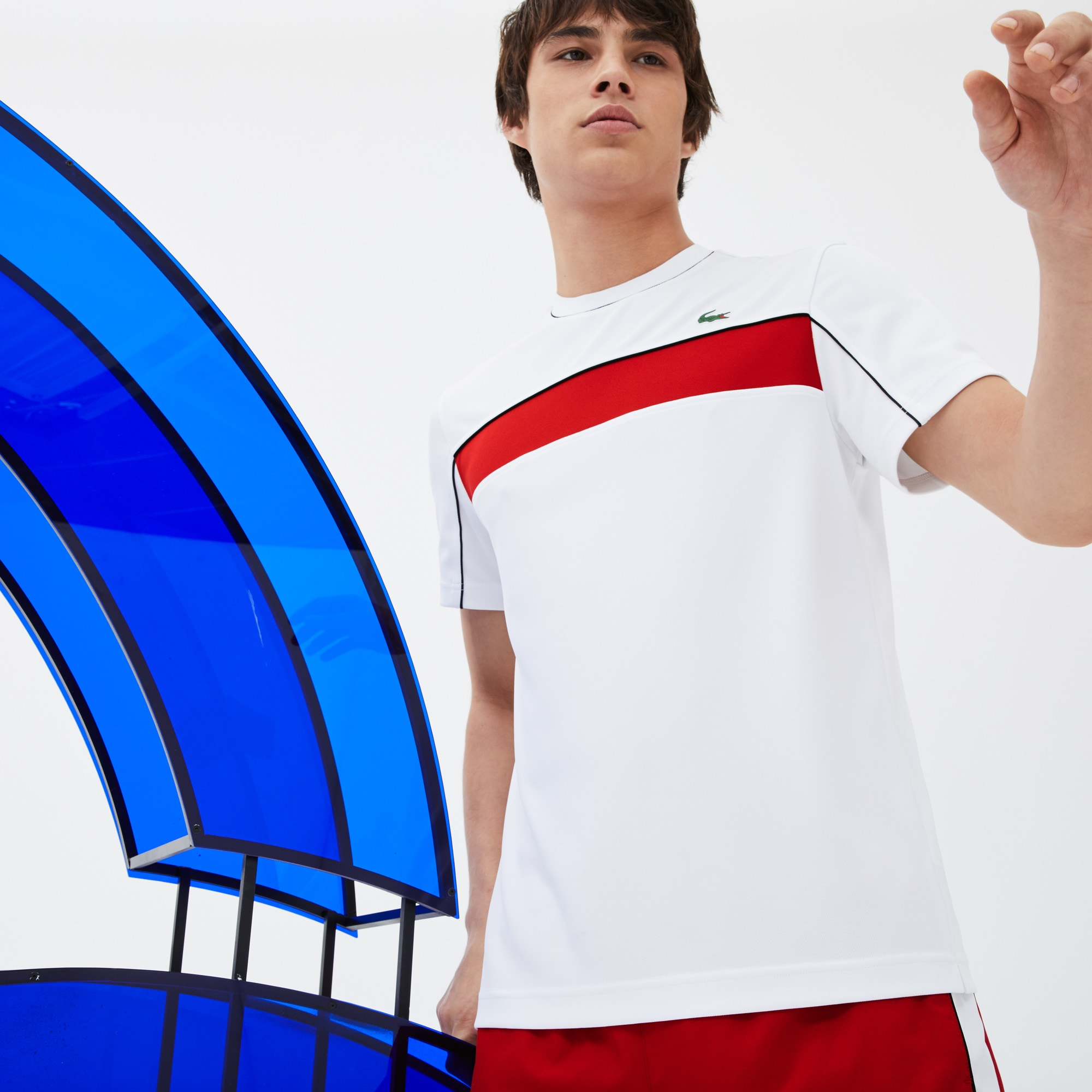 T-shirt LACOSTE SPORT COLLECTION NOVAK DJOKOVIC en piqué technique color block
