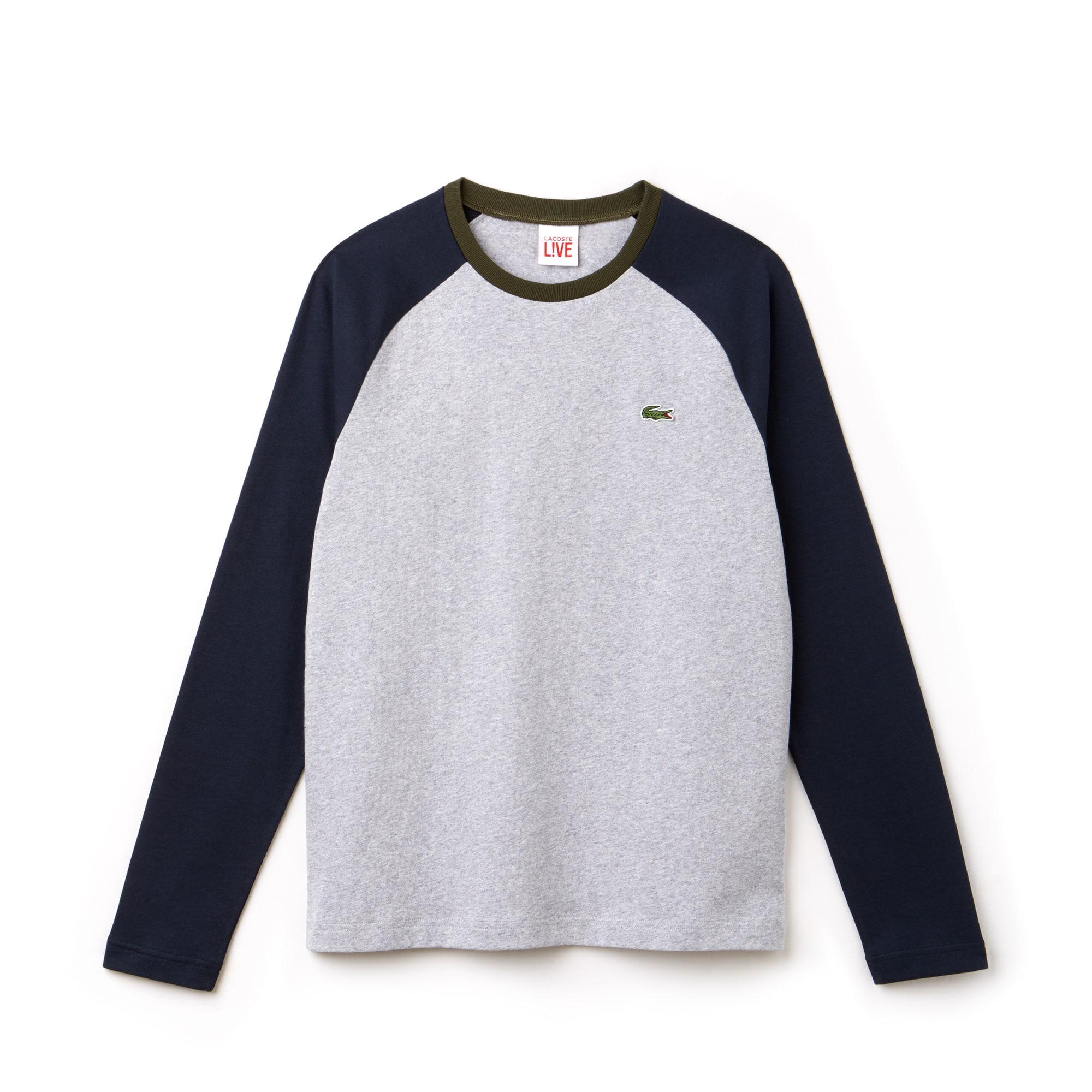 T-shirt à manches longues Lacoste LIVE en jersey bicolore