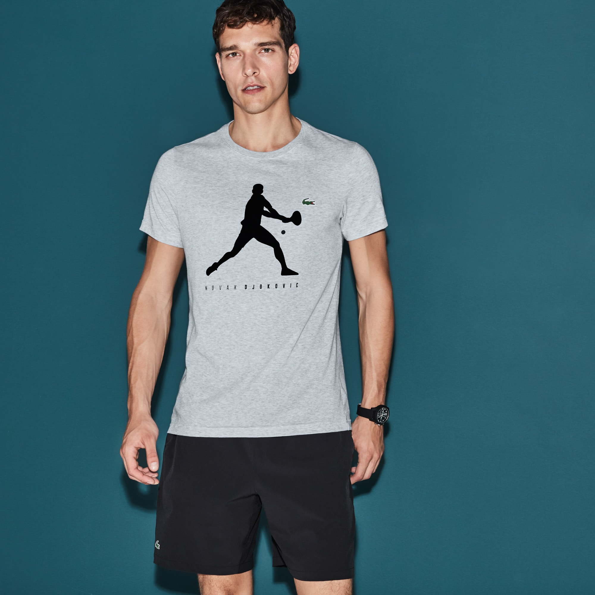 T-shirt Col Rond en Jersey Uni avec Imprimé - Collection Novak Djokovic Support With Style