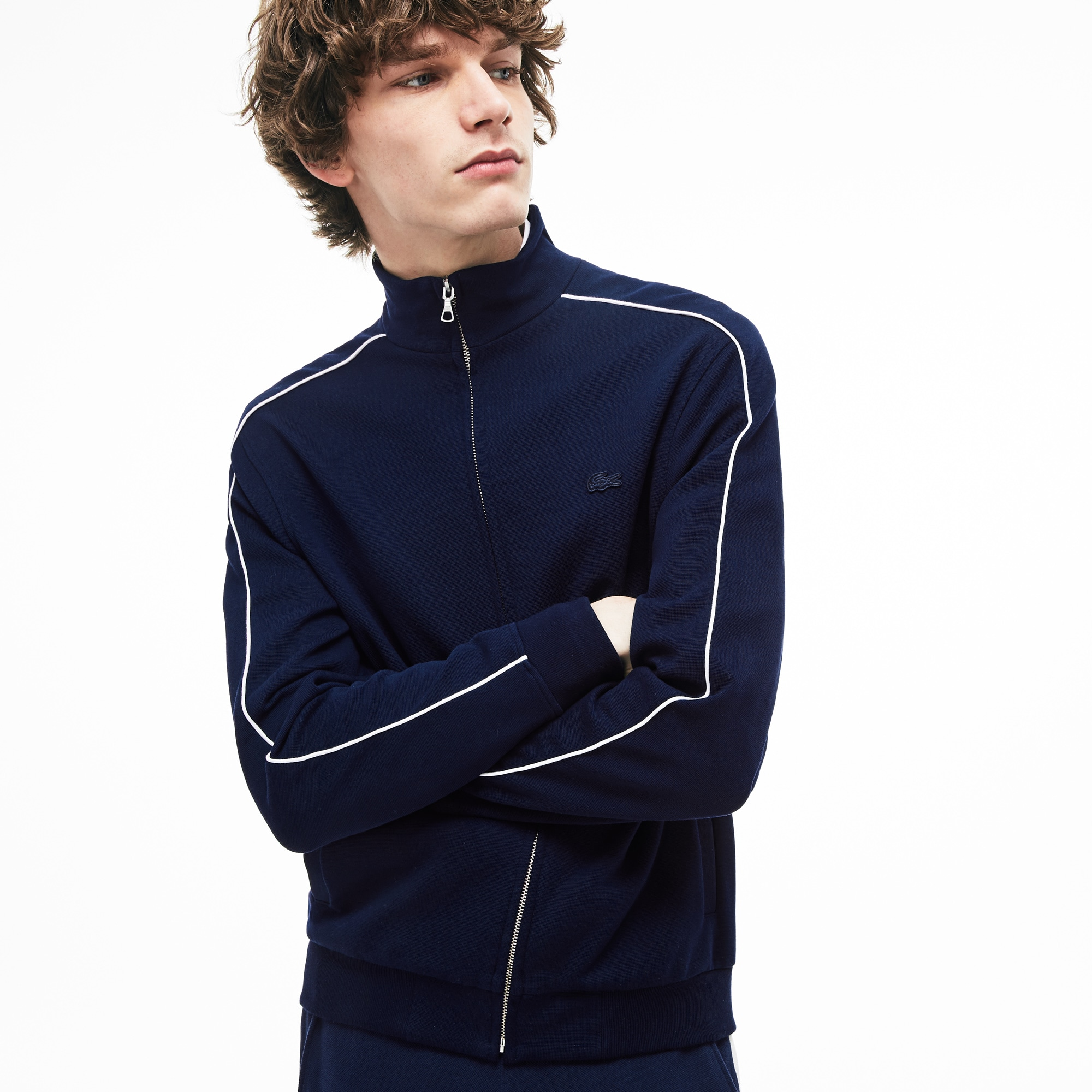 30371642ca Sweatshirt zippé en coton milano avec bandes contrastées
