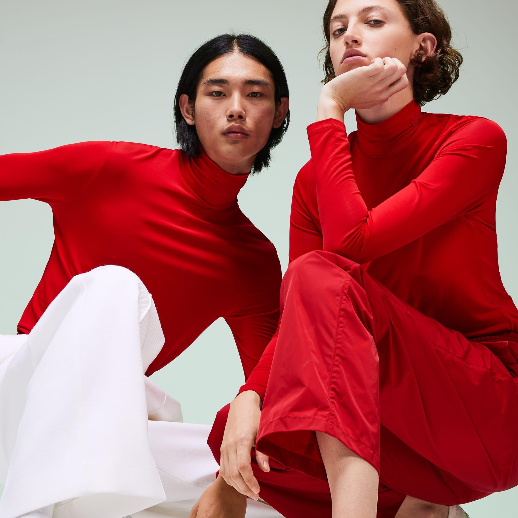 Lacoste T-shirt à col roulé unisexe Édition Défilé en jersey Taille 6 - XL Rouge