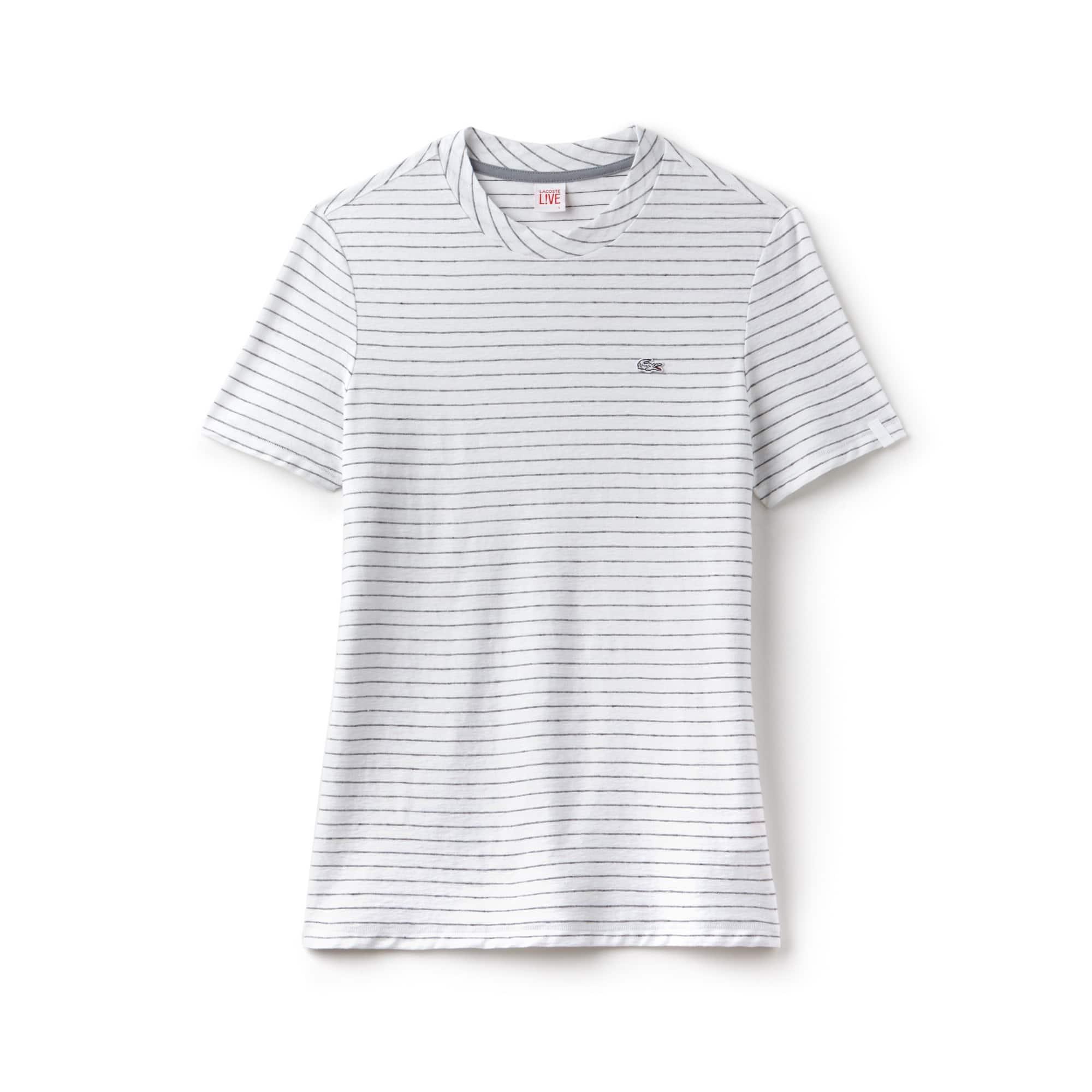 T-shirt col rond Lacoste LIVE en jersey de coton et lin rayé