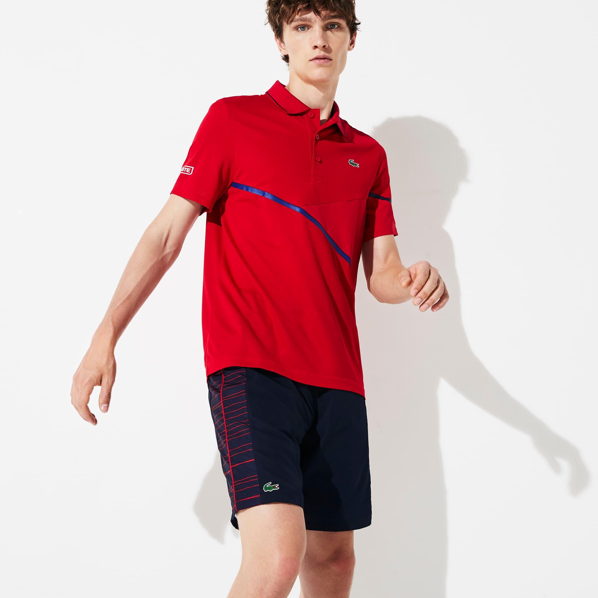 Polo Tennis Lacoste SPORT en piqué respirant avec détails contrastés Taille 4 - M Rouge / Bleu Marin