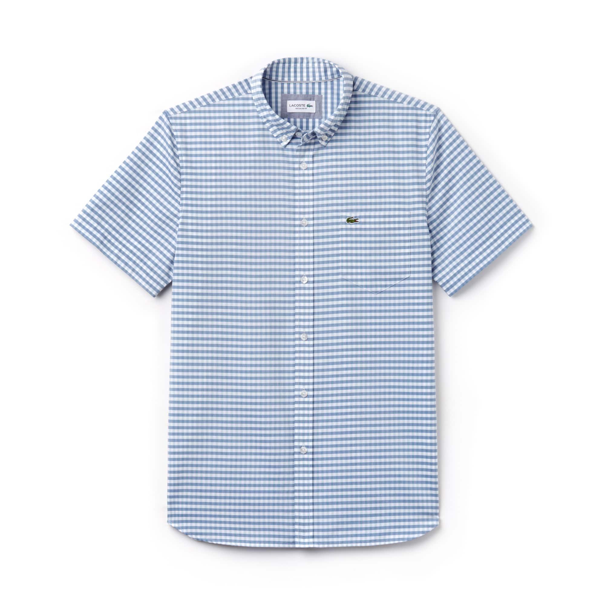Chemise regular fit à manches courtes en popeline vichy