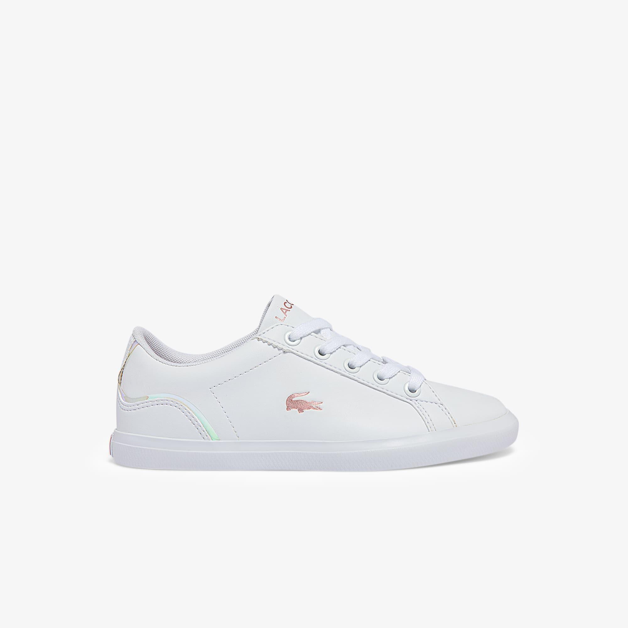 Lacoste Sneakers Lerond enfant en synthétique irisé Taille 32.5 Blanc/rose