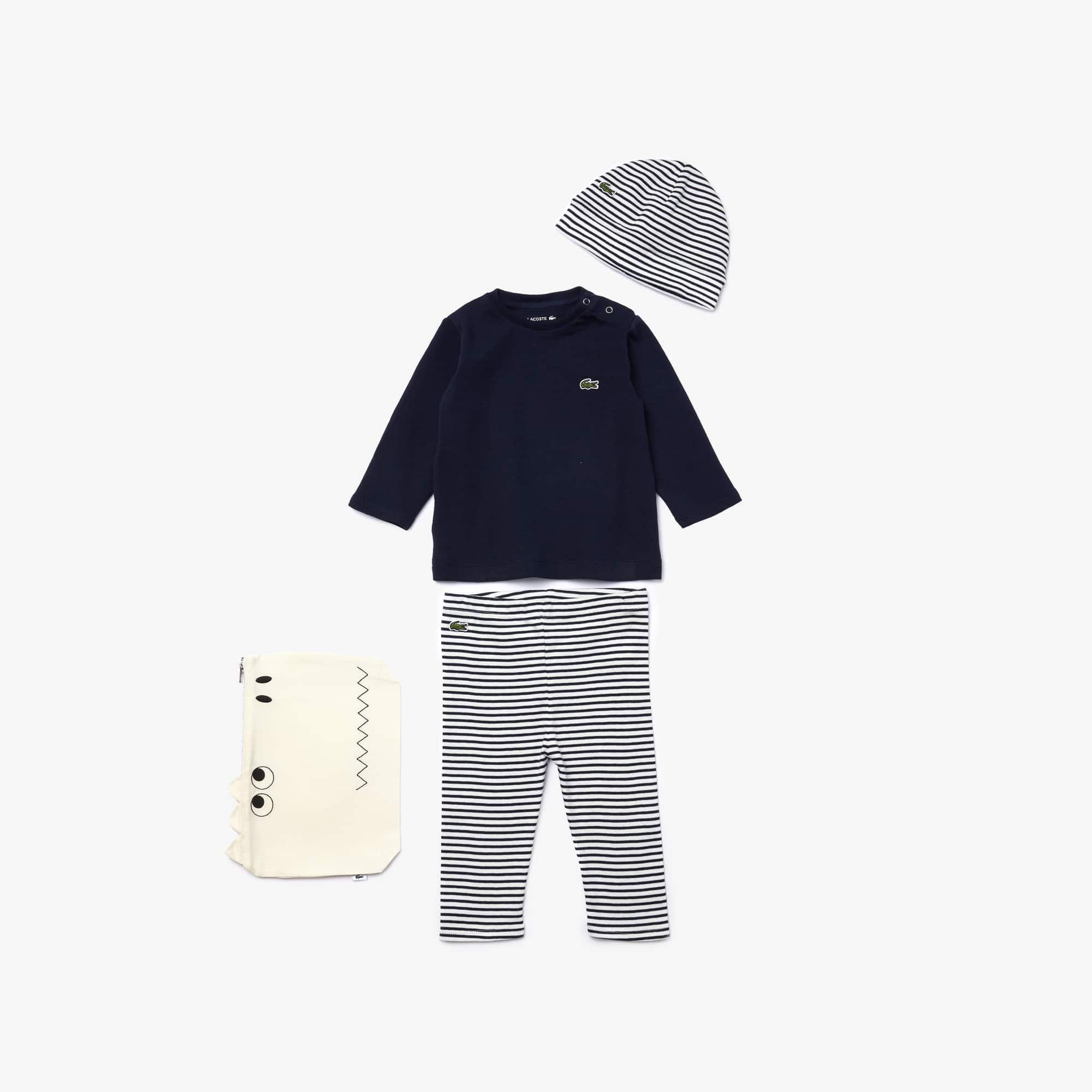 Lacoste Ensemble de pyjama Garçon en coton côtelé avec pochette croco Taille 1 an Black/white