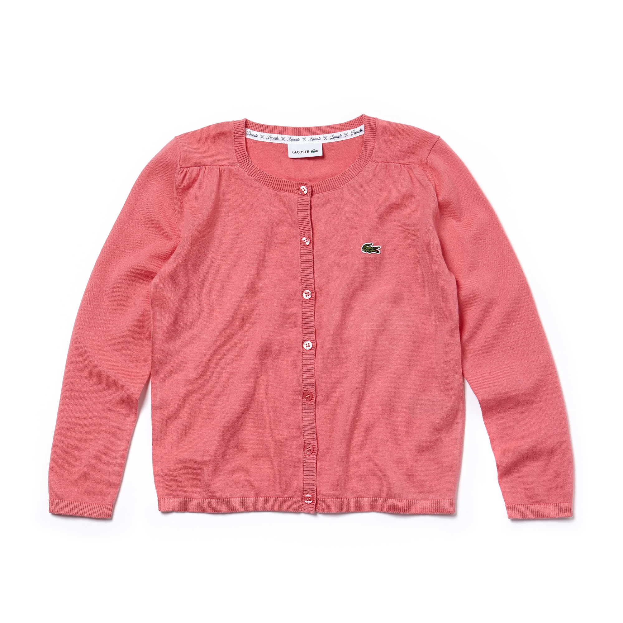 Gilet boutonné Fille en jersey de coton et laine uni