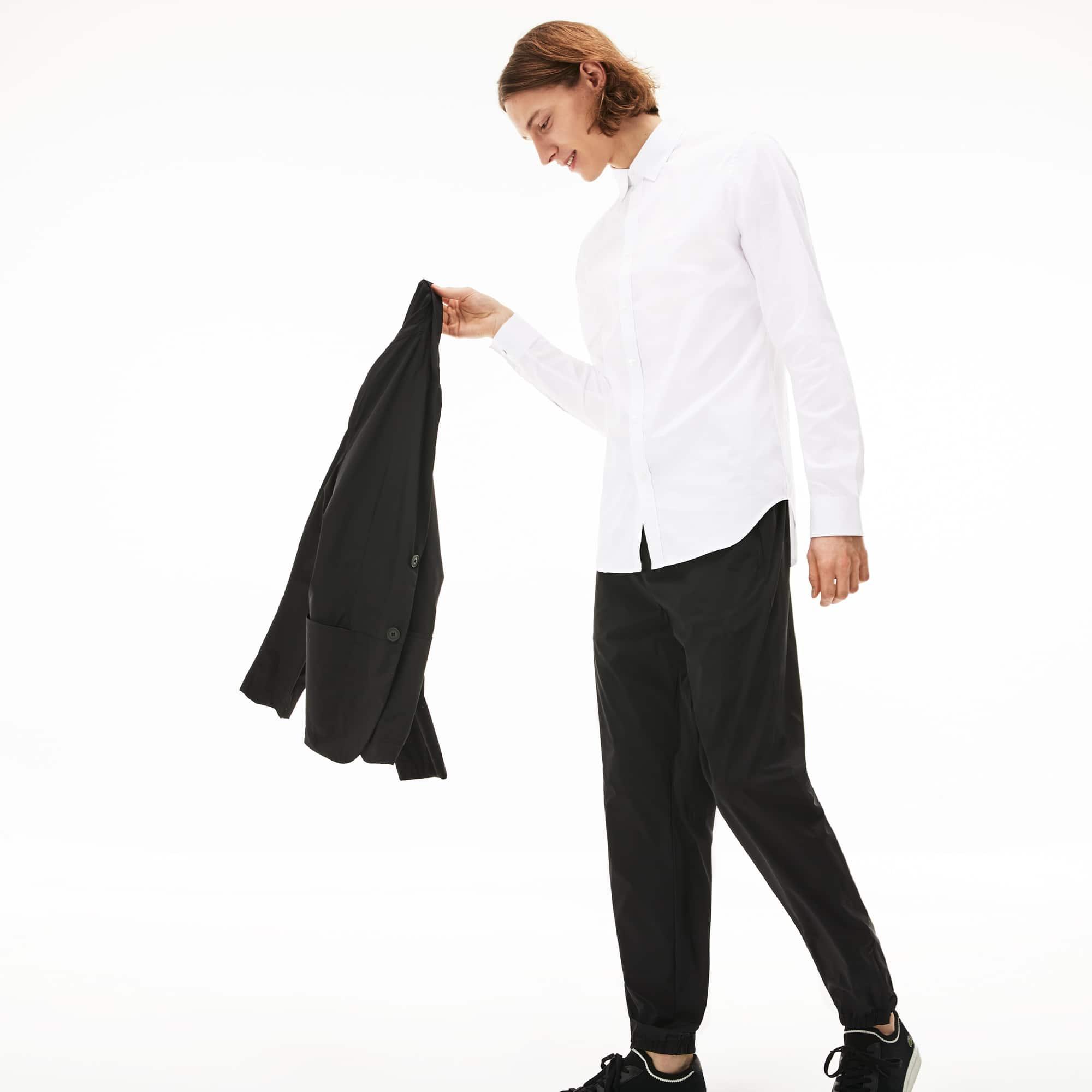 Chemise slim fit en popeline de coton stretch uni