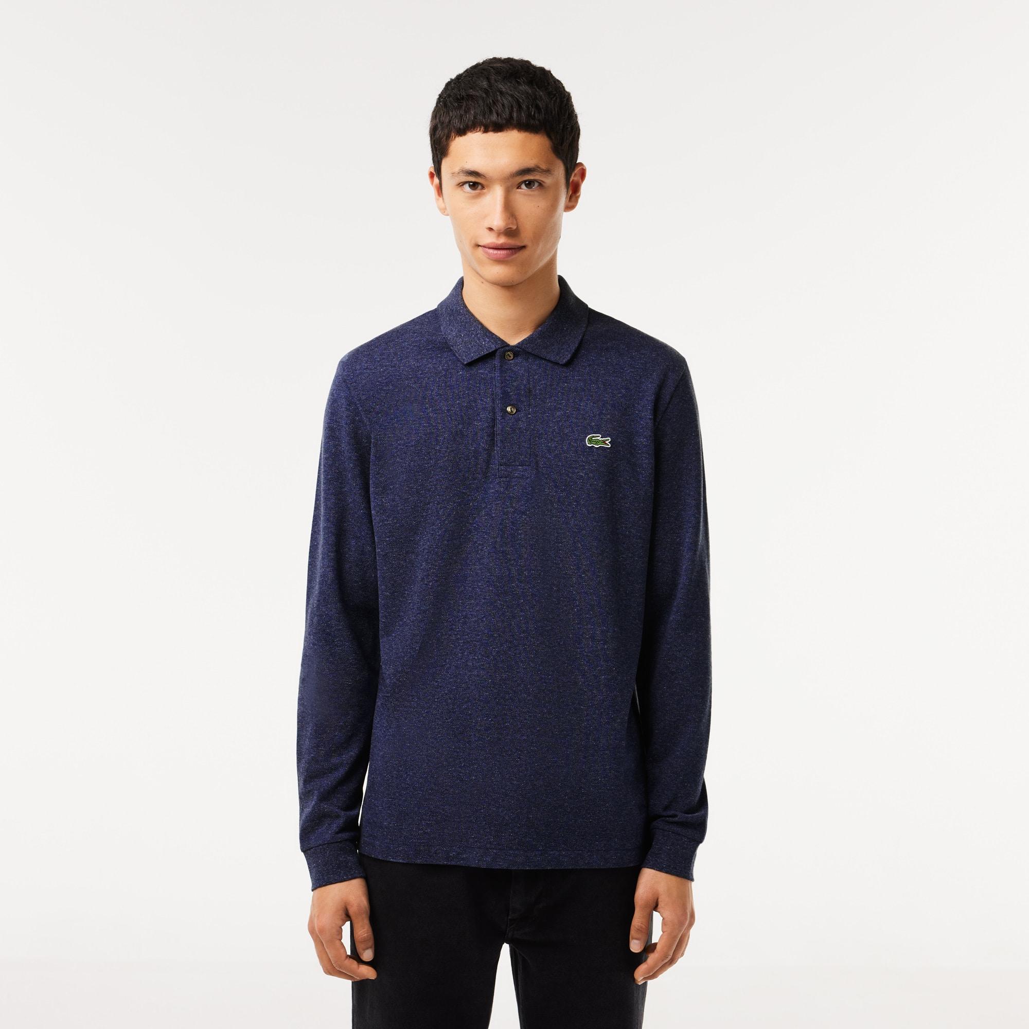 Polo Lacoste classic fit en petit piqué chiné à manches longues Taille 3XL Bleu Chine