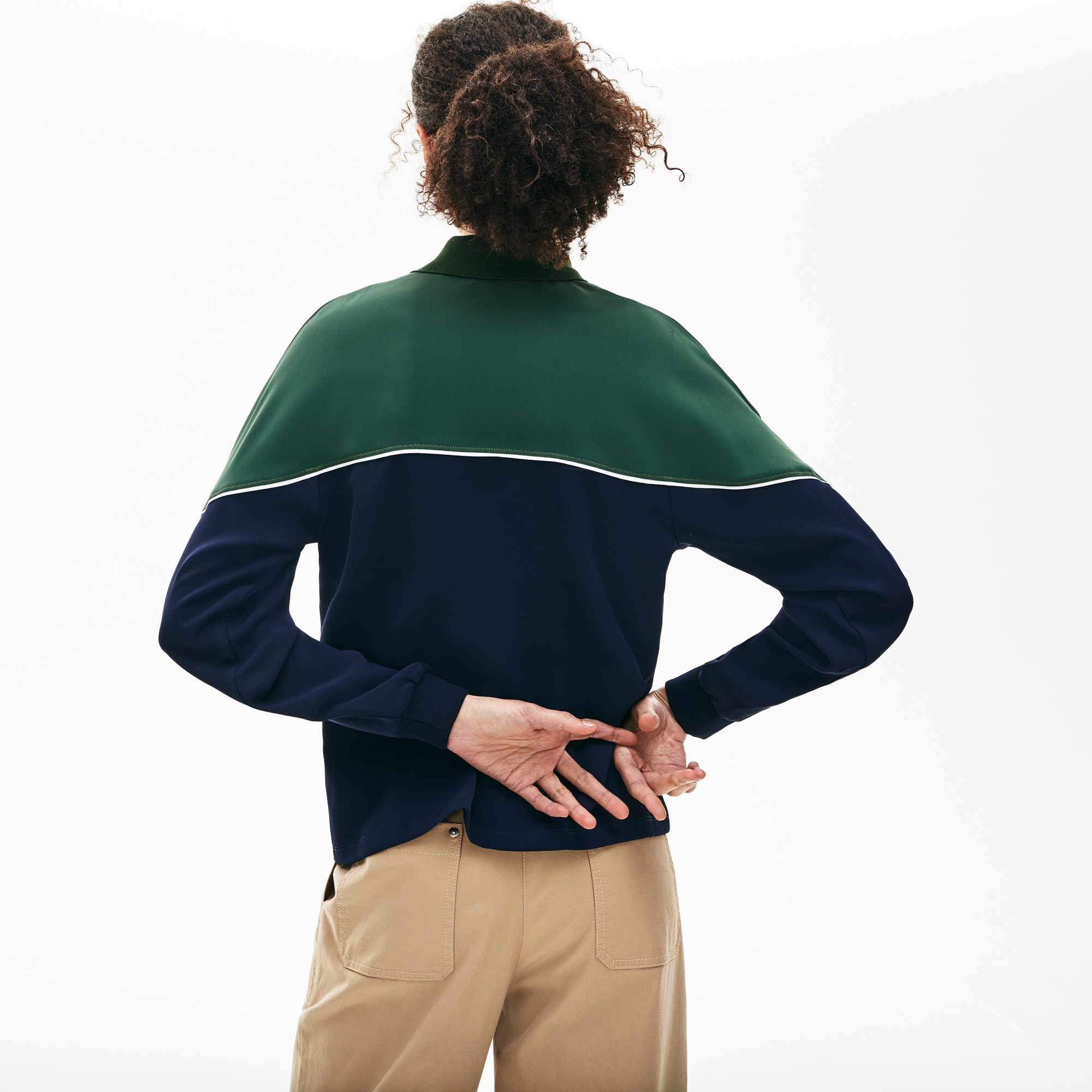 Polo col zippé relax fit Lacoste à manches longues color-block