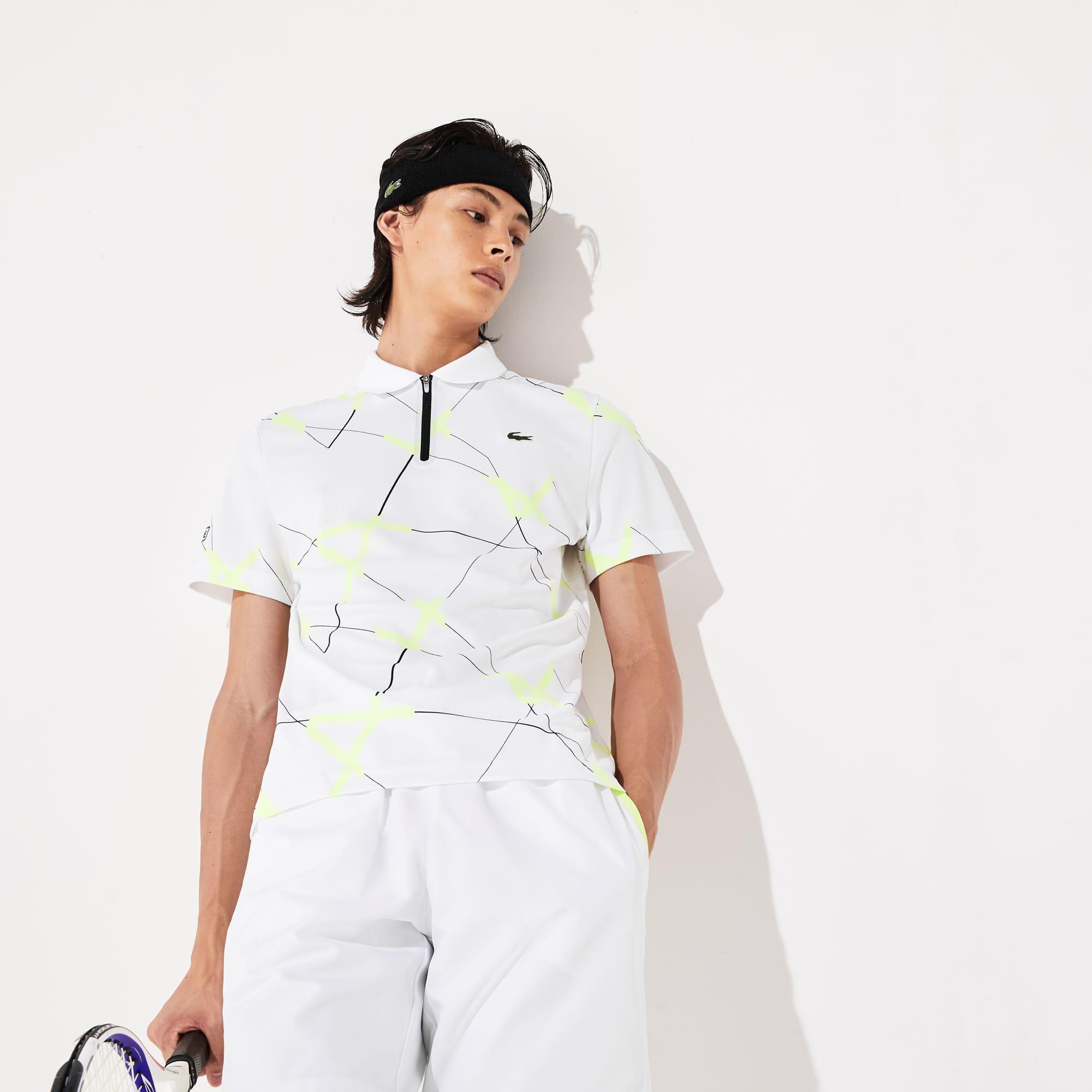 Polo Tennis Lacoste SPORT en piqué respirant à imprimé graphique Taille 3 - S Blanc / Noir / Jaune F