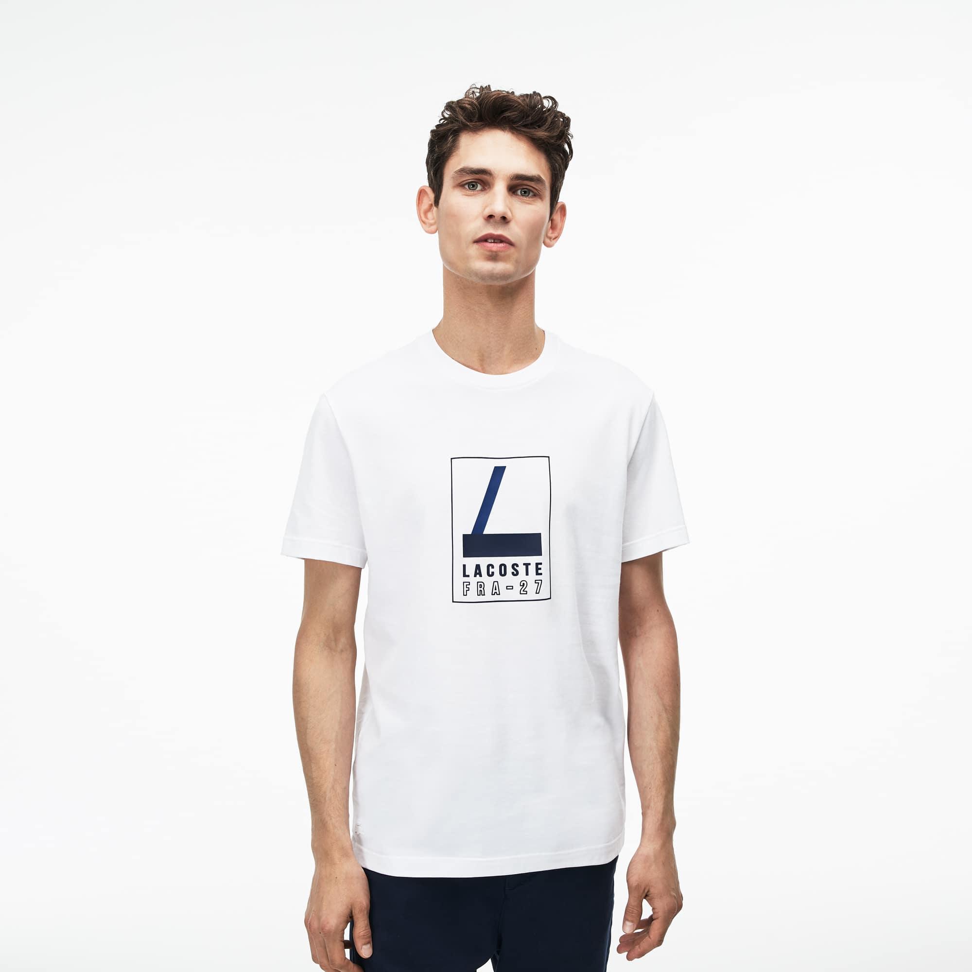 T-shirt col rond en jersey souple avec marquage en gomme