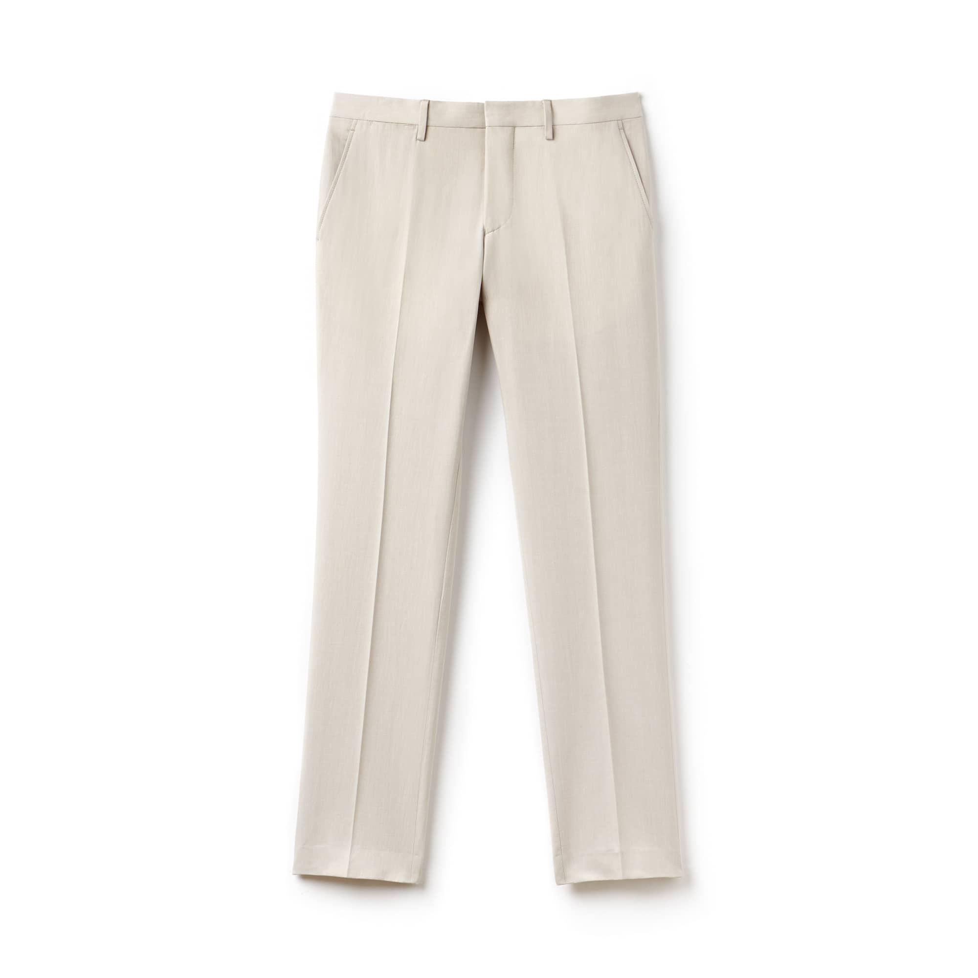 Pantalon chino à pinces slim fit en toile épaisse de coton et lin unie